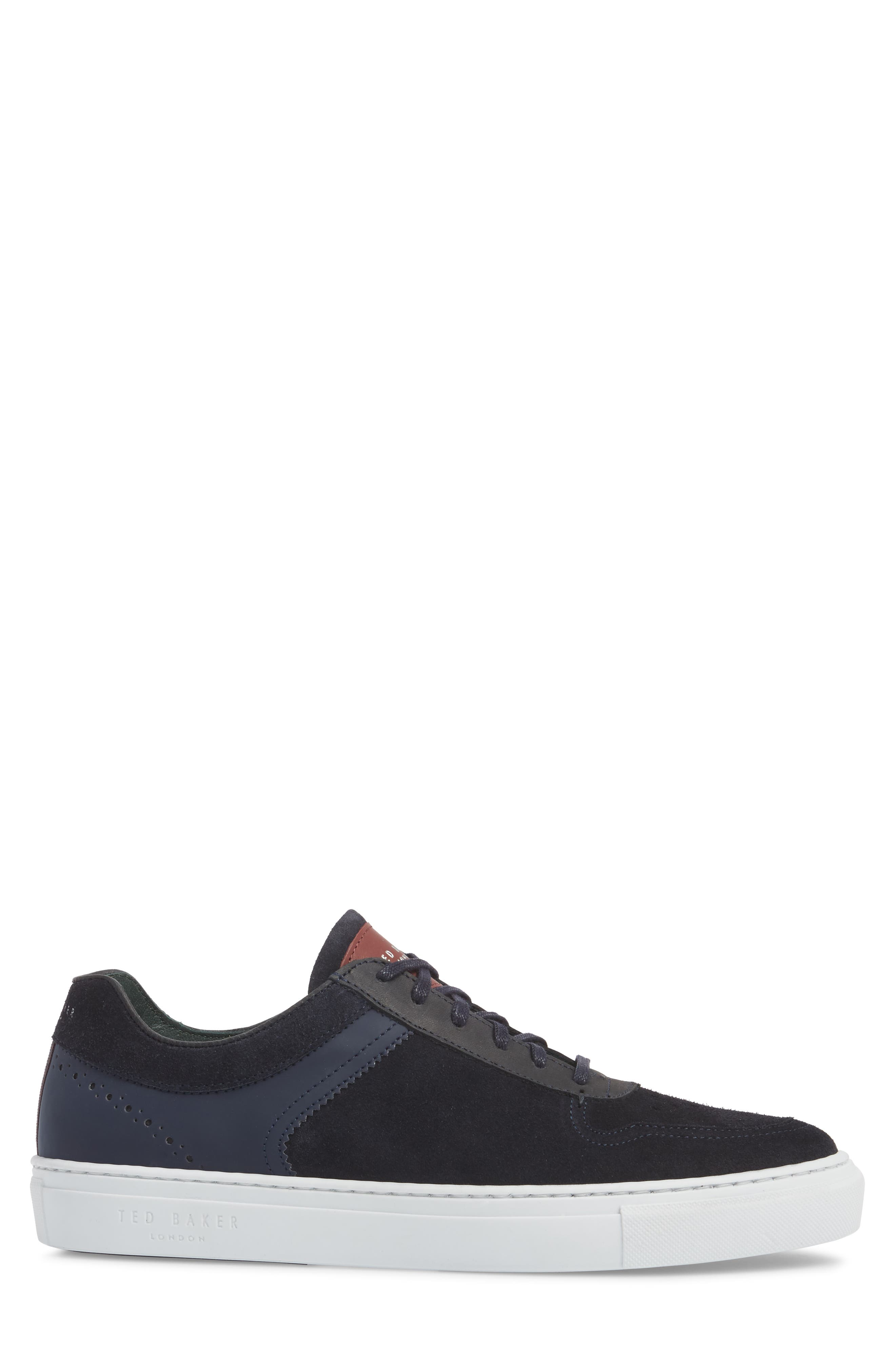 Burall Sneaker,                             Alternate thumbnail 3, color,                             Dark Blue Suede/ Textile