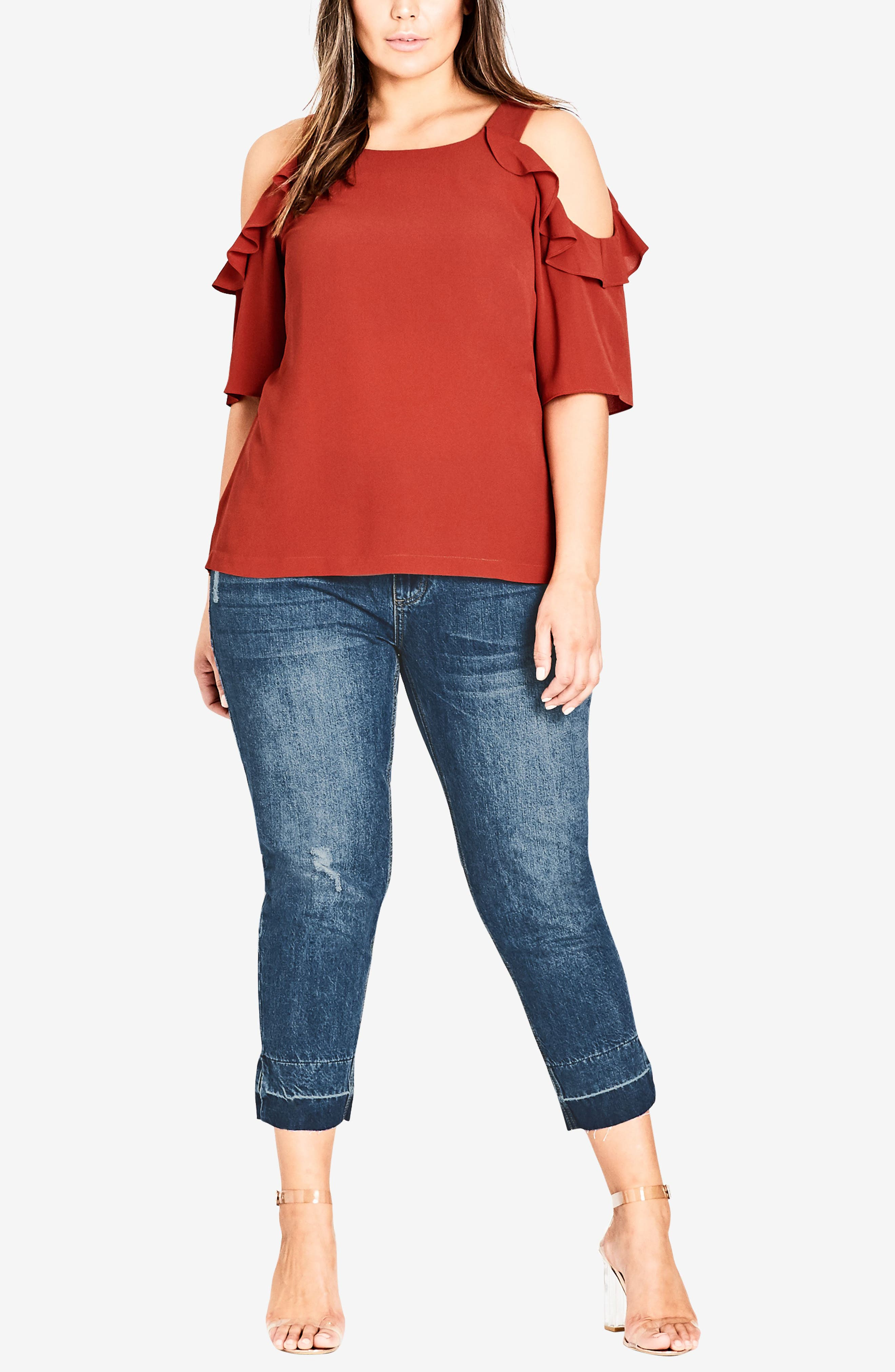 Alternate Image 4  - City Chic Wild Sleeve Cold Shoulder Top (Plus Size)