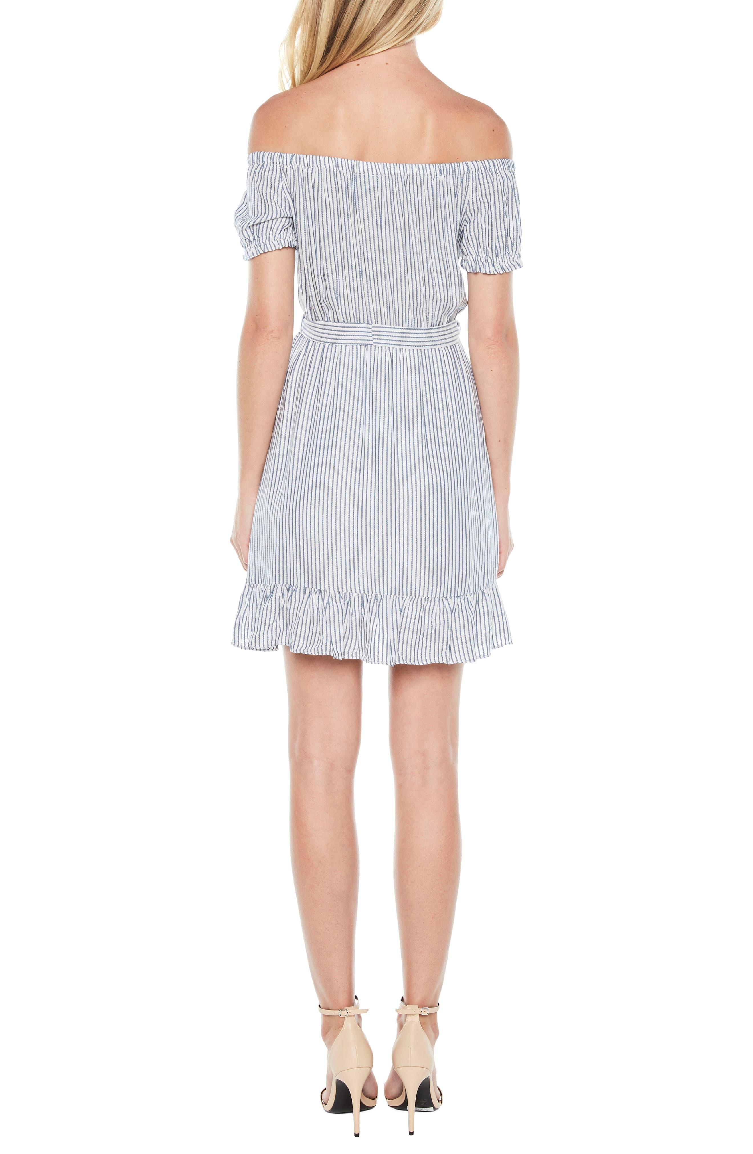 Bobbi Off the Shoulder Stripe Dress,                             Alternate thumbnail 2, color,                             Blue/ White