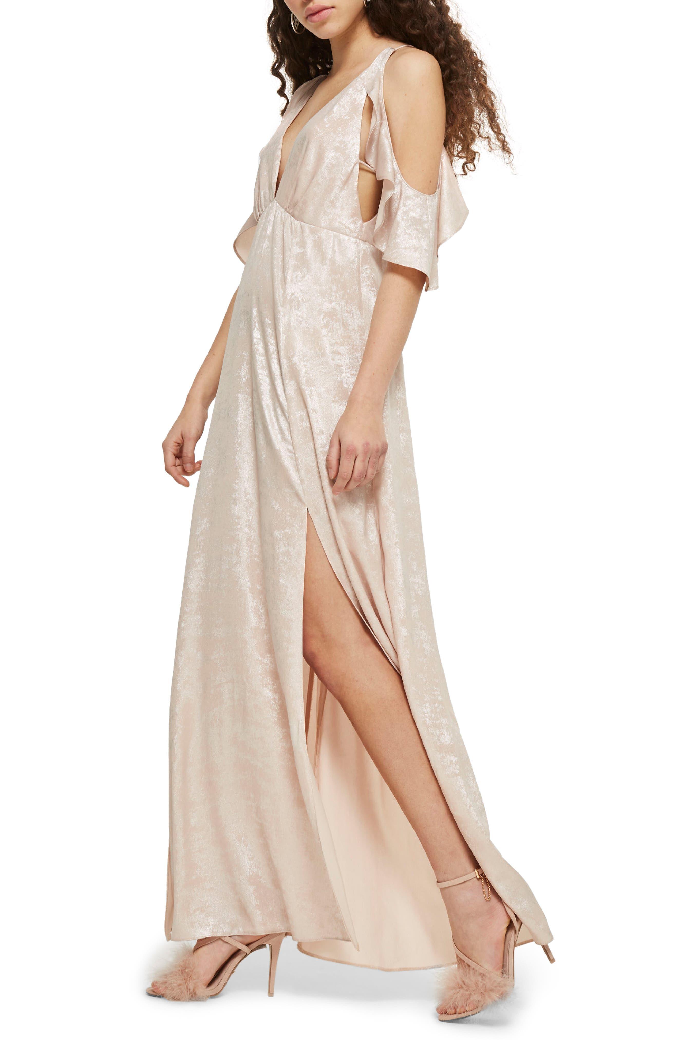 Topshop Cold Shoulder Foil Maxi Dress