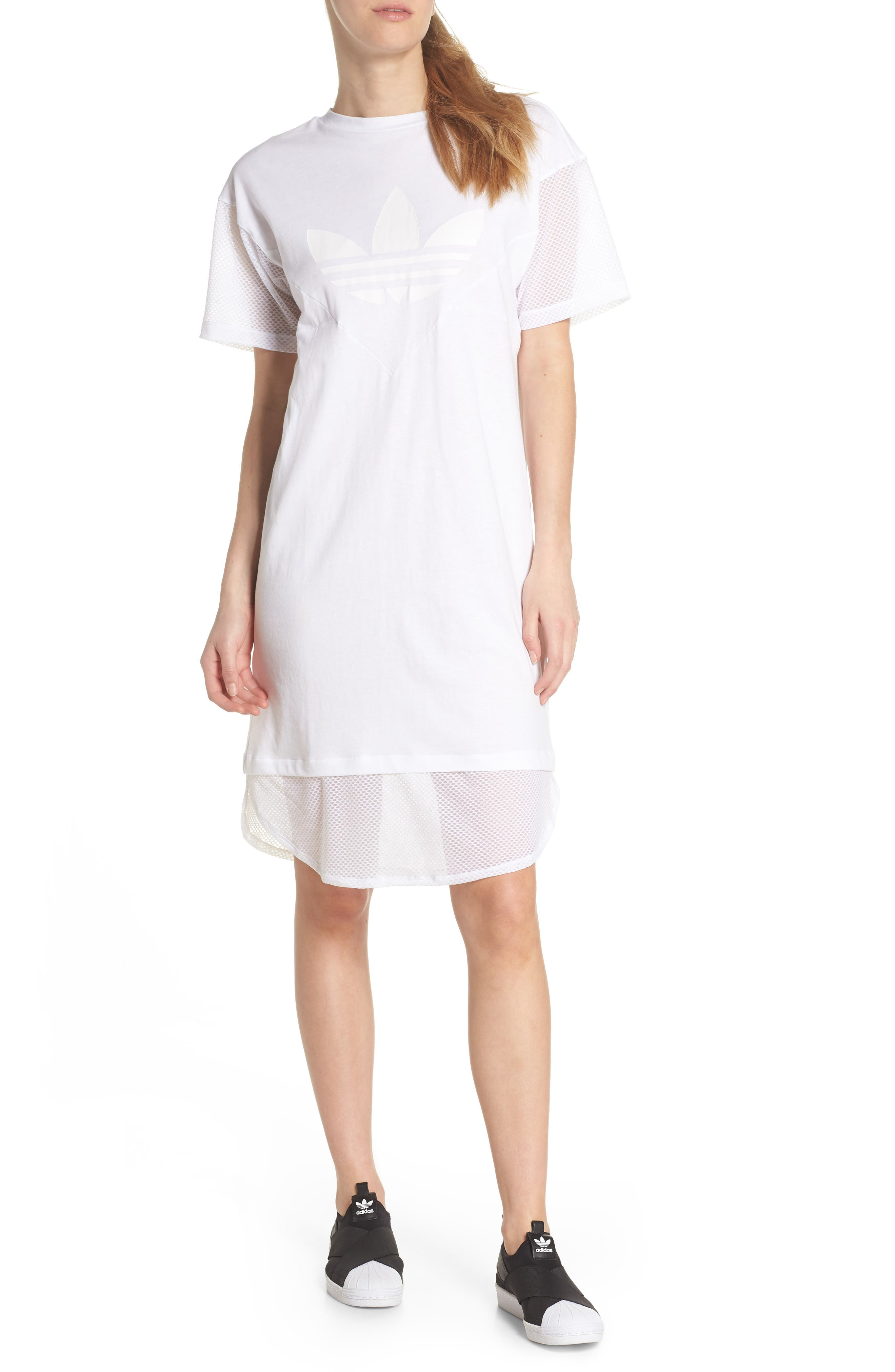 CLRDO T-Shirt Dress,                             Main thumbnail 1, color,                             White