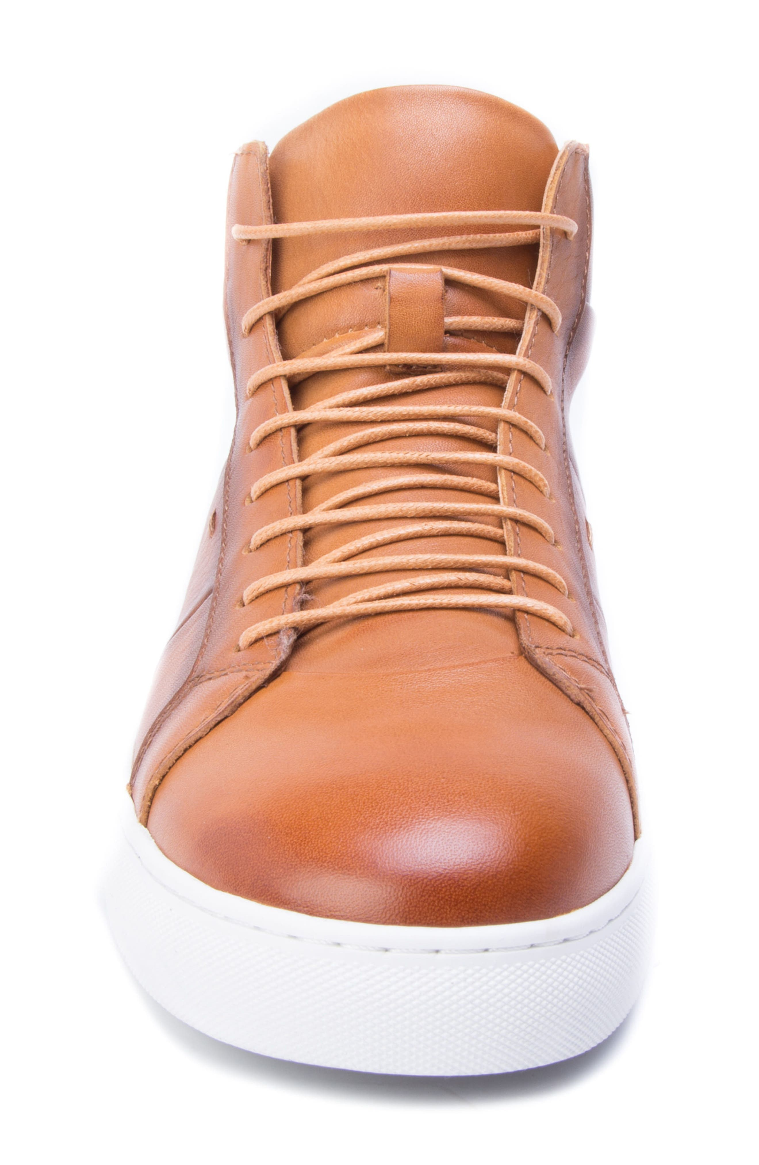 Phaser High Top Sneaker,                             Alternate thumbnail 4, color,                             Cognac Leather