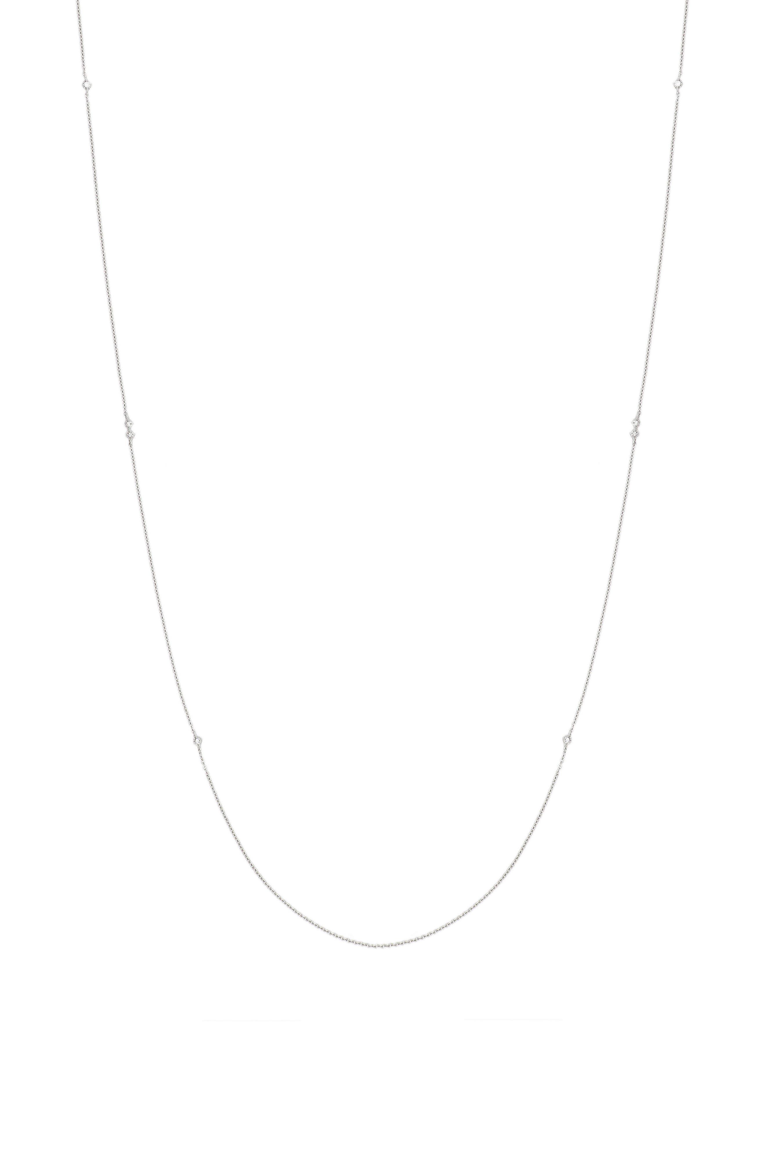 Mila Long Strand Diamond Station Necklace,                         Main,                         color, White Gold
