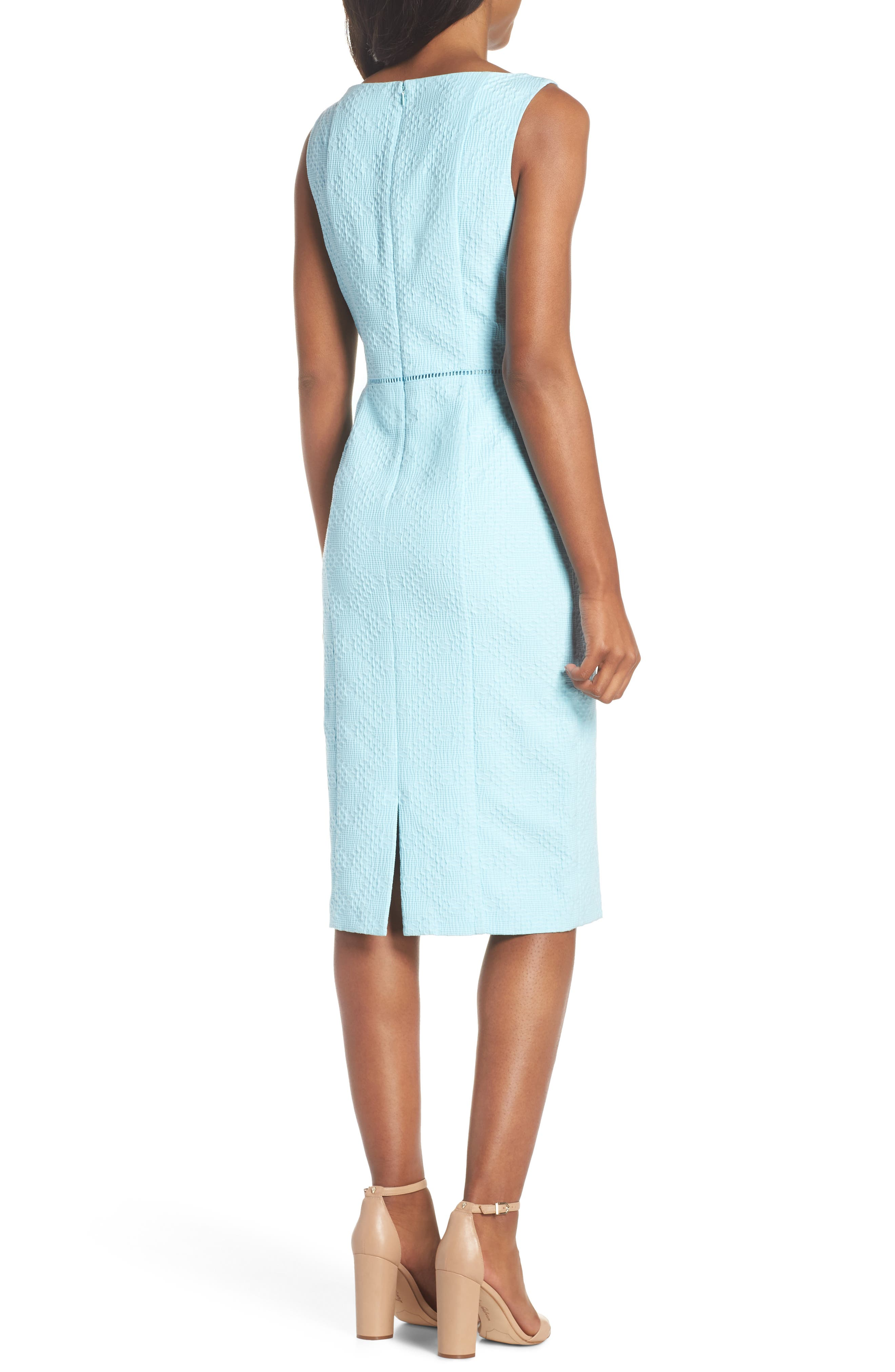 Stretch Pique Sheath Dress,                             Alternate thumbnail 2, color,                             Blue