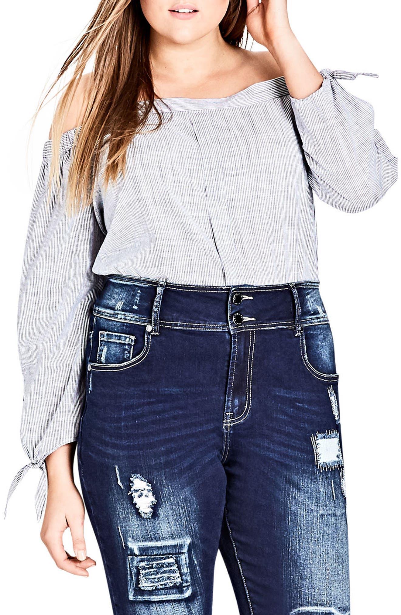 Harley Patched Skinny Jeans,                             Main thumbnail 1, color,                             Dark Indigo