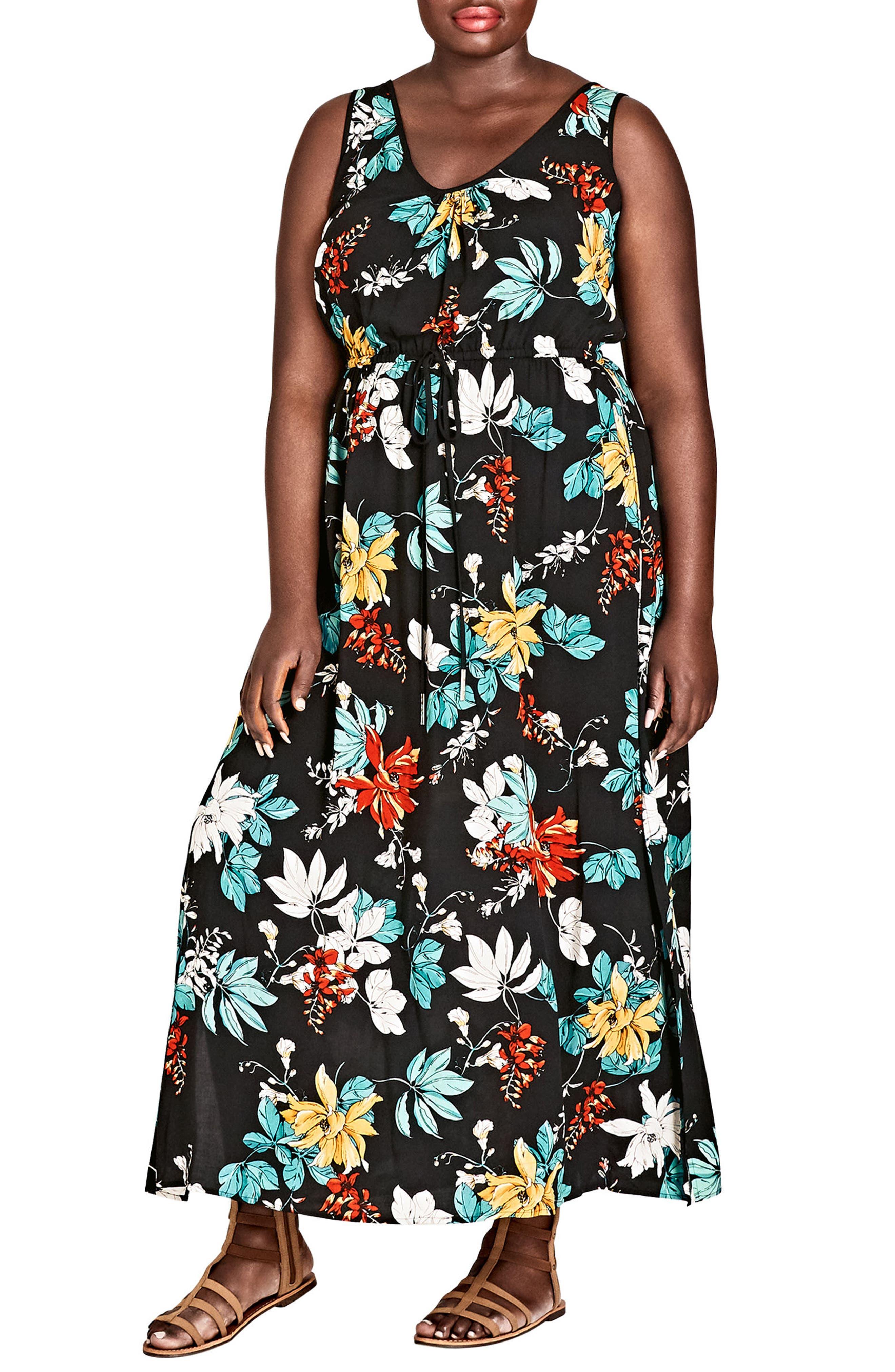 Tropical Print Maxi Dress,                         Main,                         color, Tropic Night