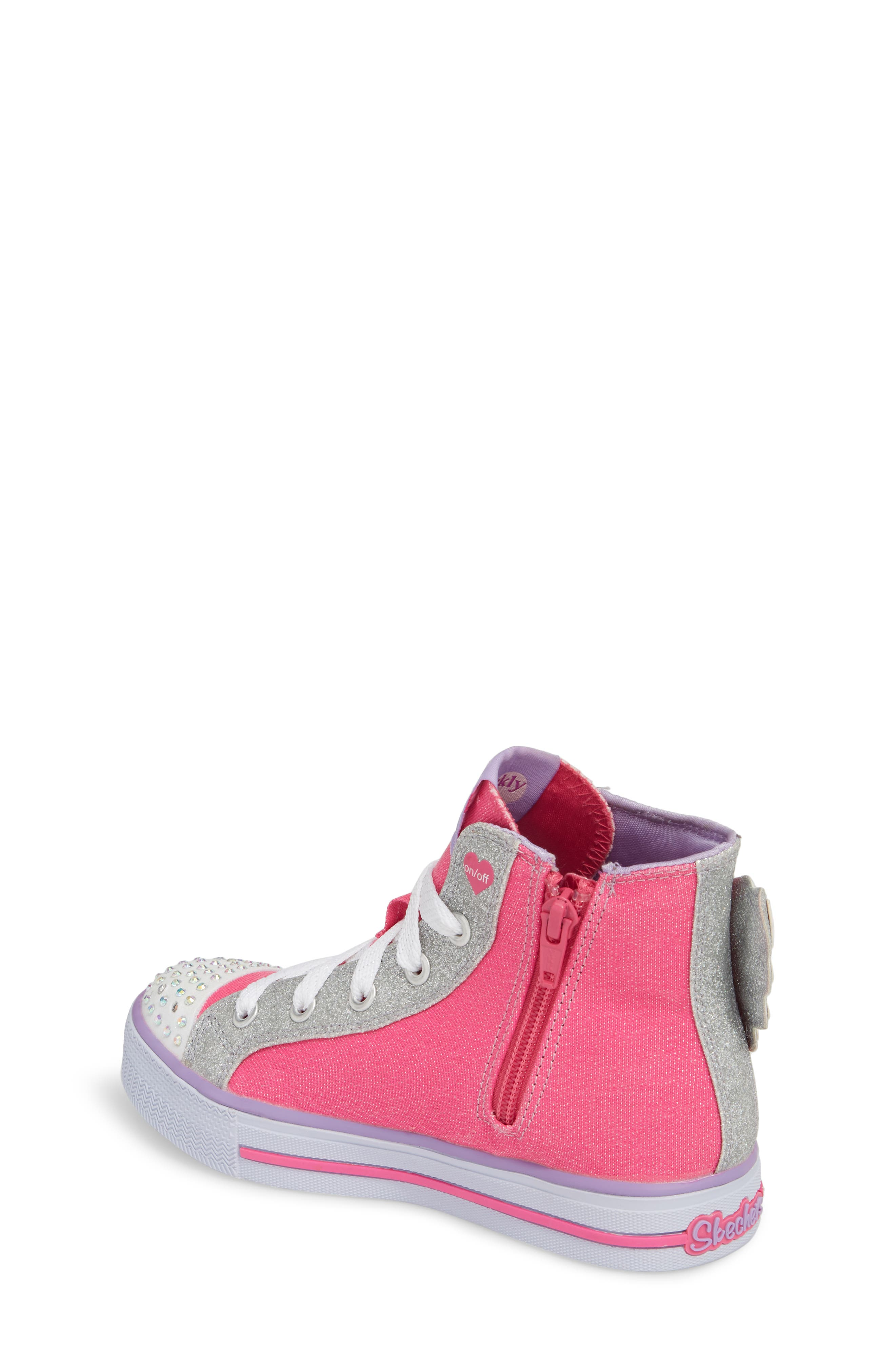 Twinkle Toes Shuffles Wonder Wings Light-Up High Top Sneaker,                             Alternate thumbnail 2, color,                             Hot Pink/ Silver