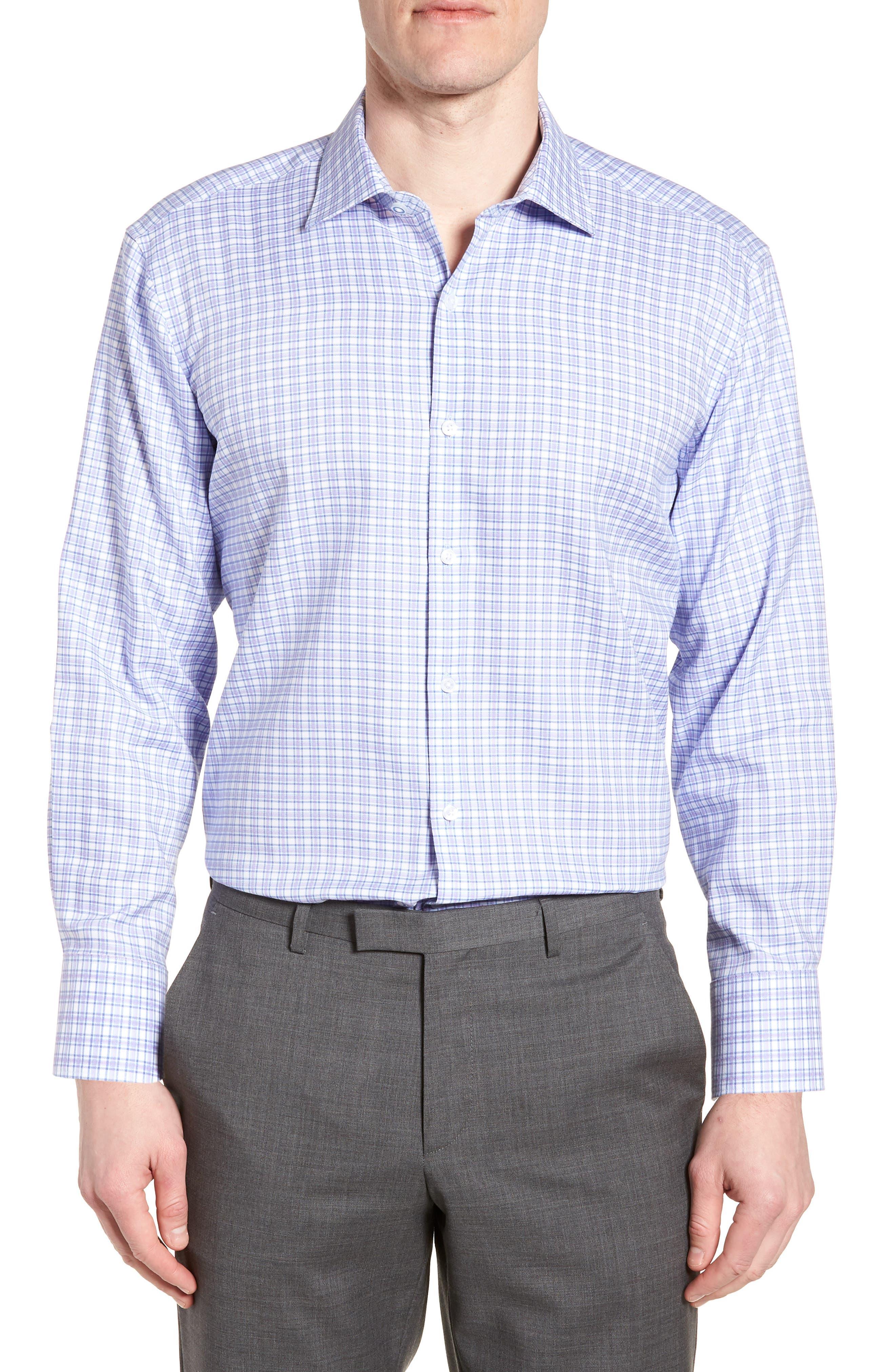 Neil Trim Fit Check Dress Shirt,                         Main,                         color, Lavender