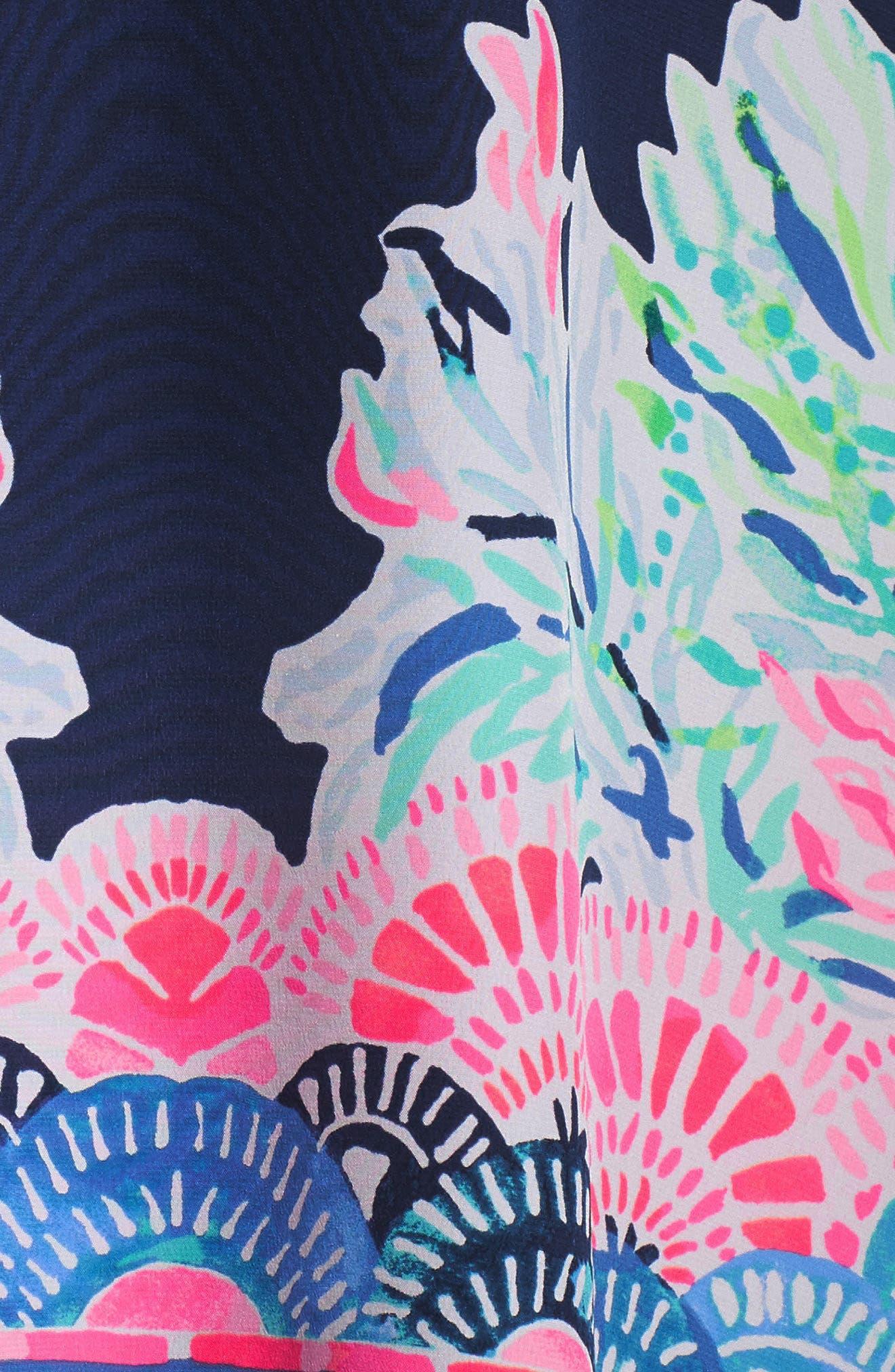 Atlin Cold Shoulder Silk Caftan,                             Alternate thumbnail 5, color,                             Deep Indigo Seaglass Menage