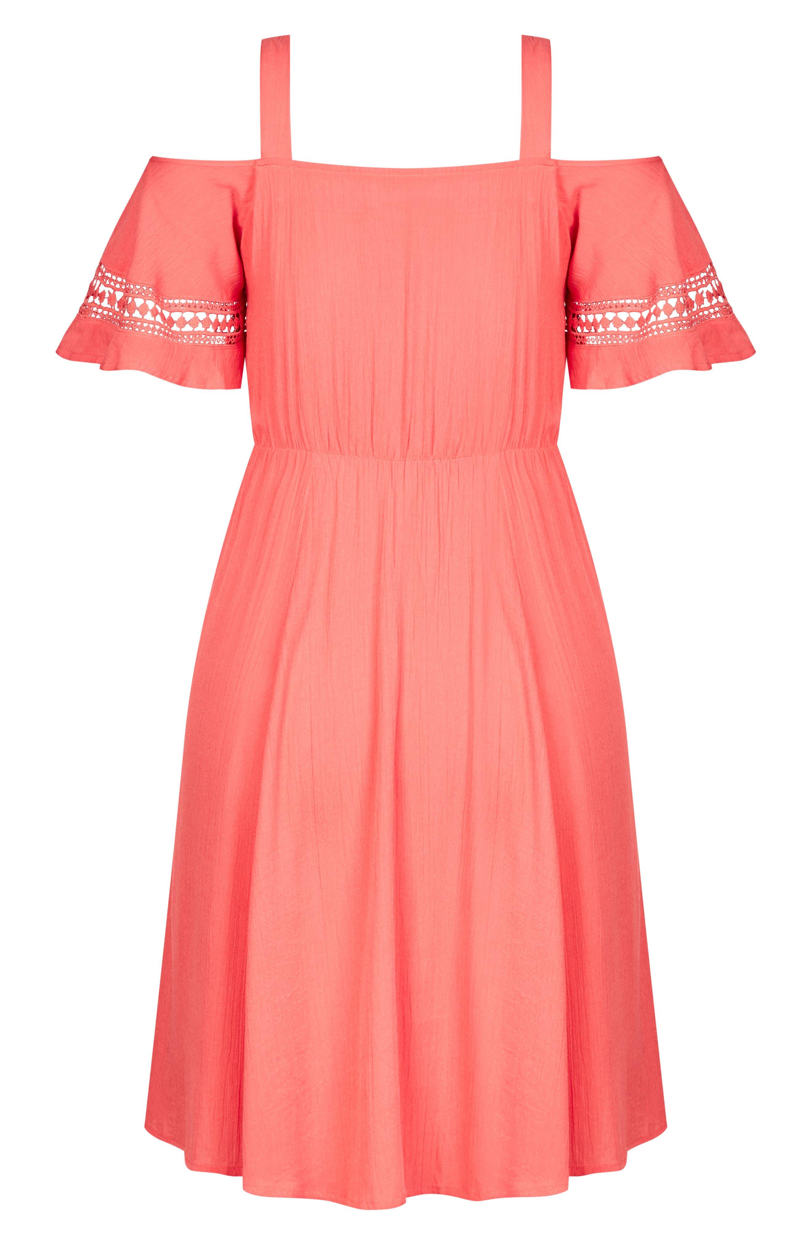 Sweet Frills Dress,                             Alternate thumbnail 3, color,                             Dark Coral