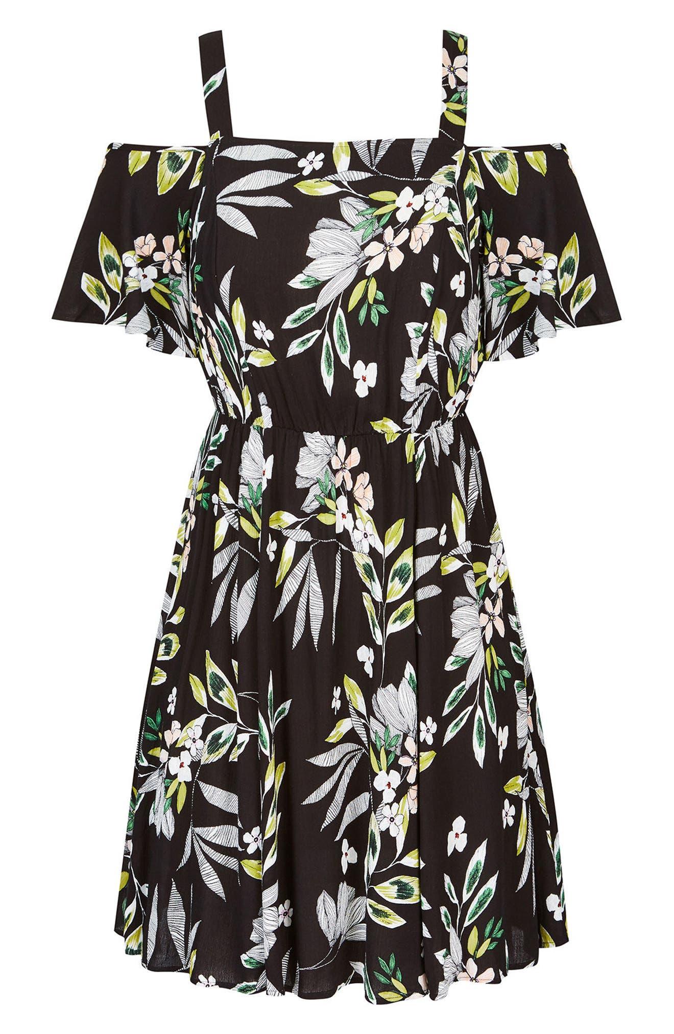 Maui Floral Cold Shoulder Dress,                             Alternate thumbnail 3, color,                             Maui Floral