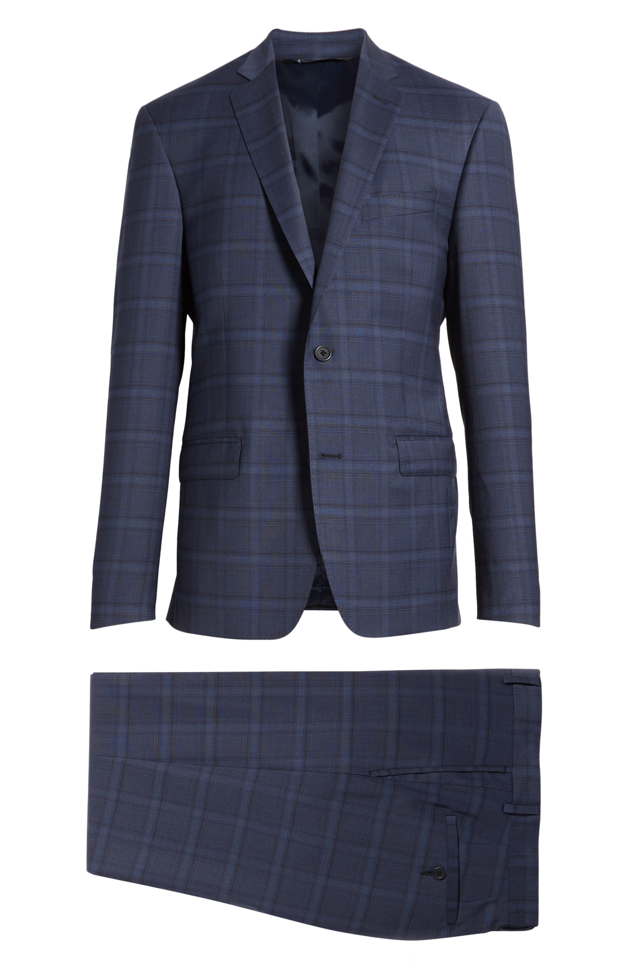 Trim Fit Plaid Stretch Wool Travel Suit,                             Alternate thumbnail 8, color,                             Navy