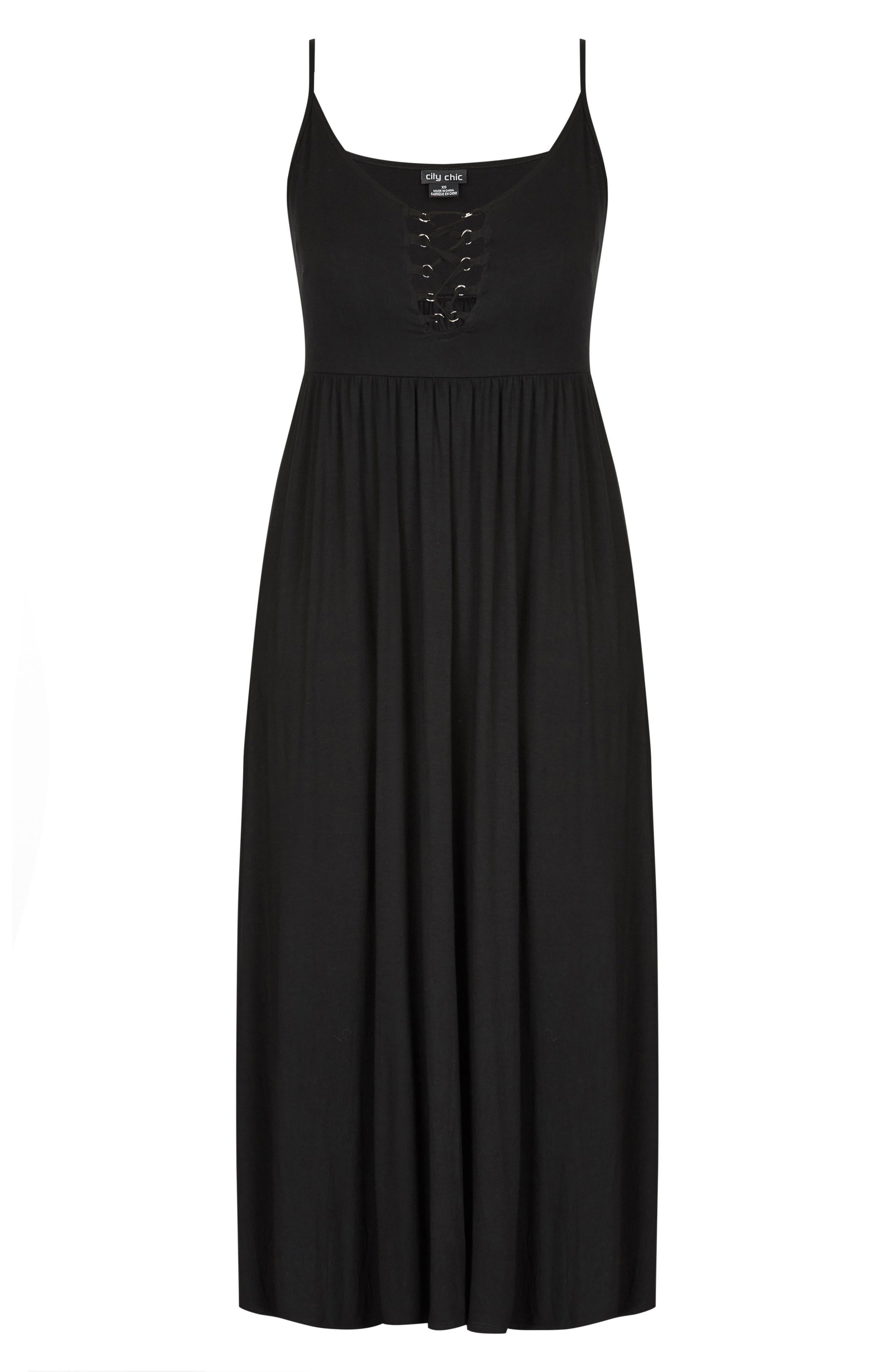 Lace Up Maxi Dress,                             Alternate thumbnail 3, color,                             Black