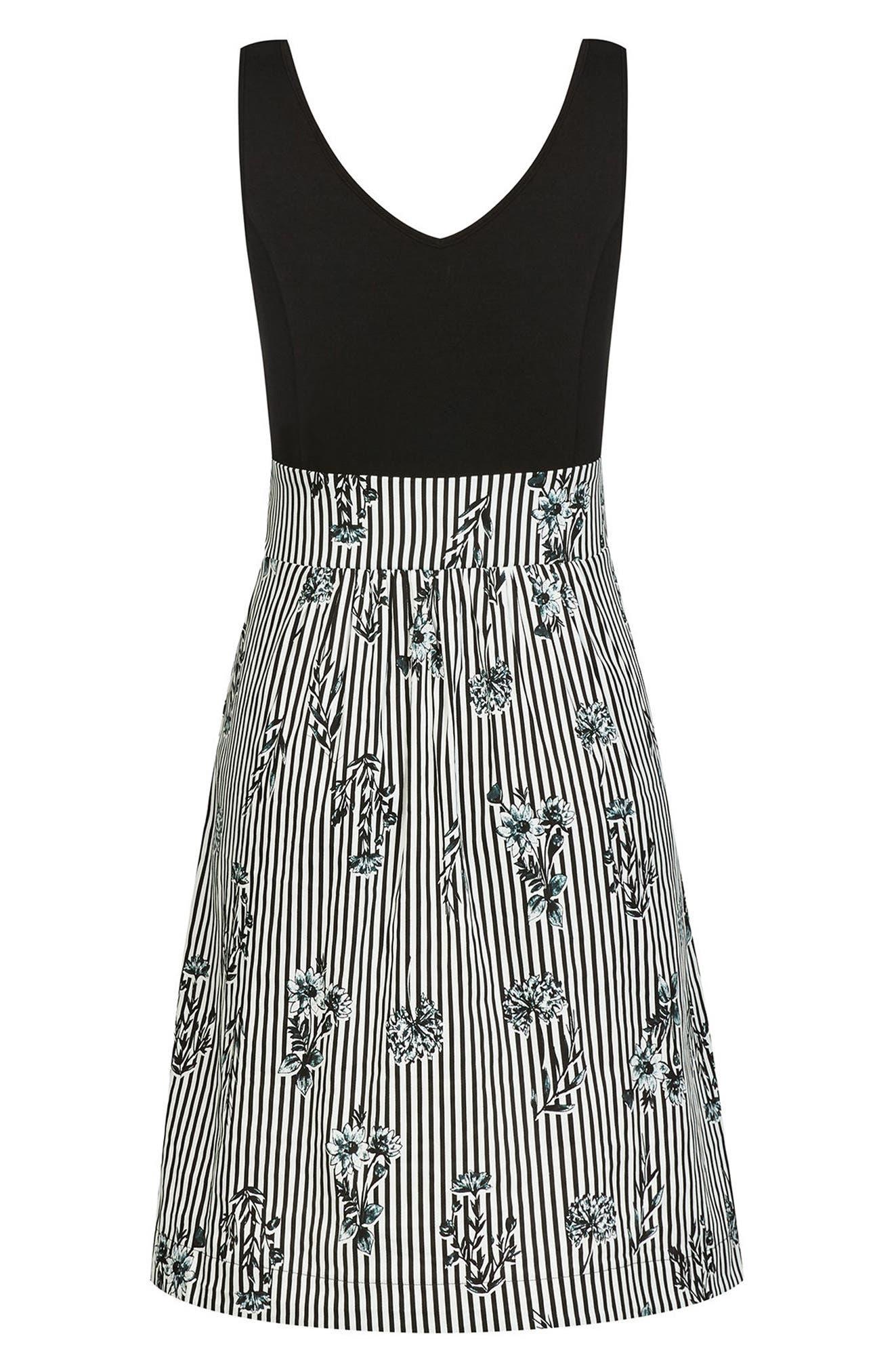 Stripe Floral A-Line Dress,                             Alternate thumbnail 3, color,                             Flower Line