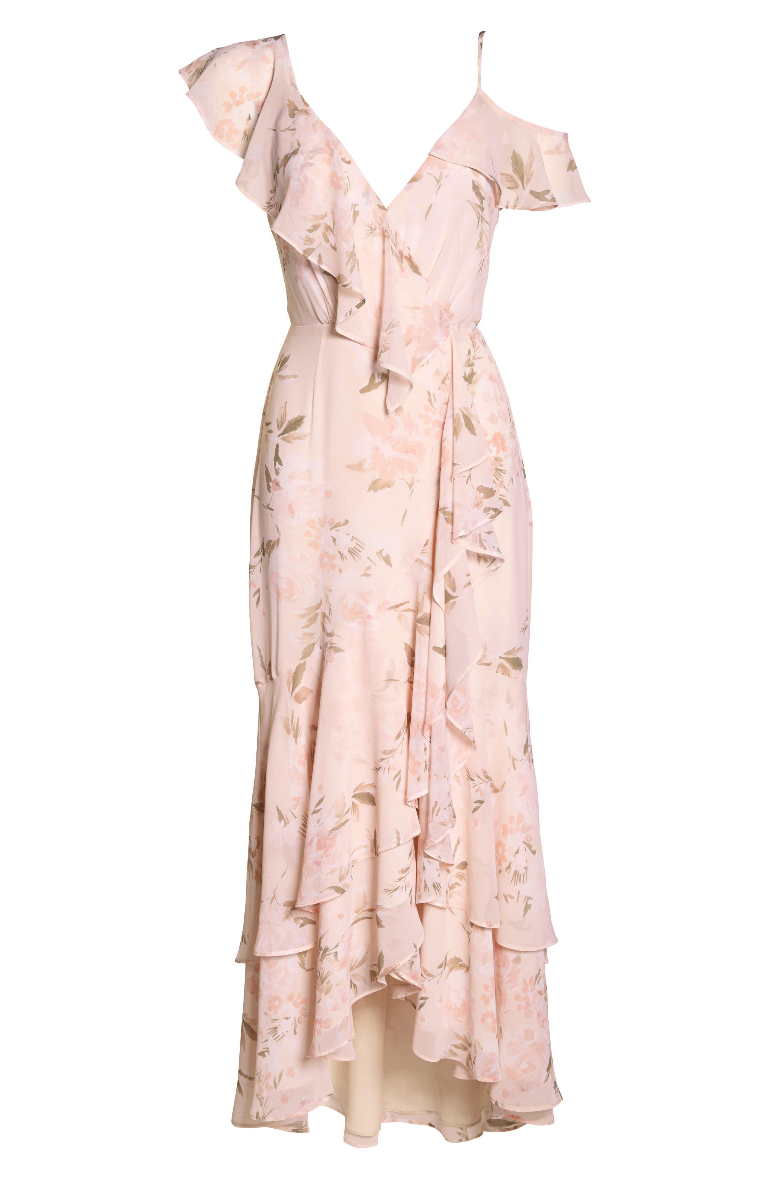 Elanor Ruffle Faux Wrap Maxi Dress,                             Alternate thumbnail 6, color,                             Blush Bouquet