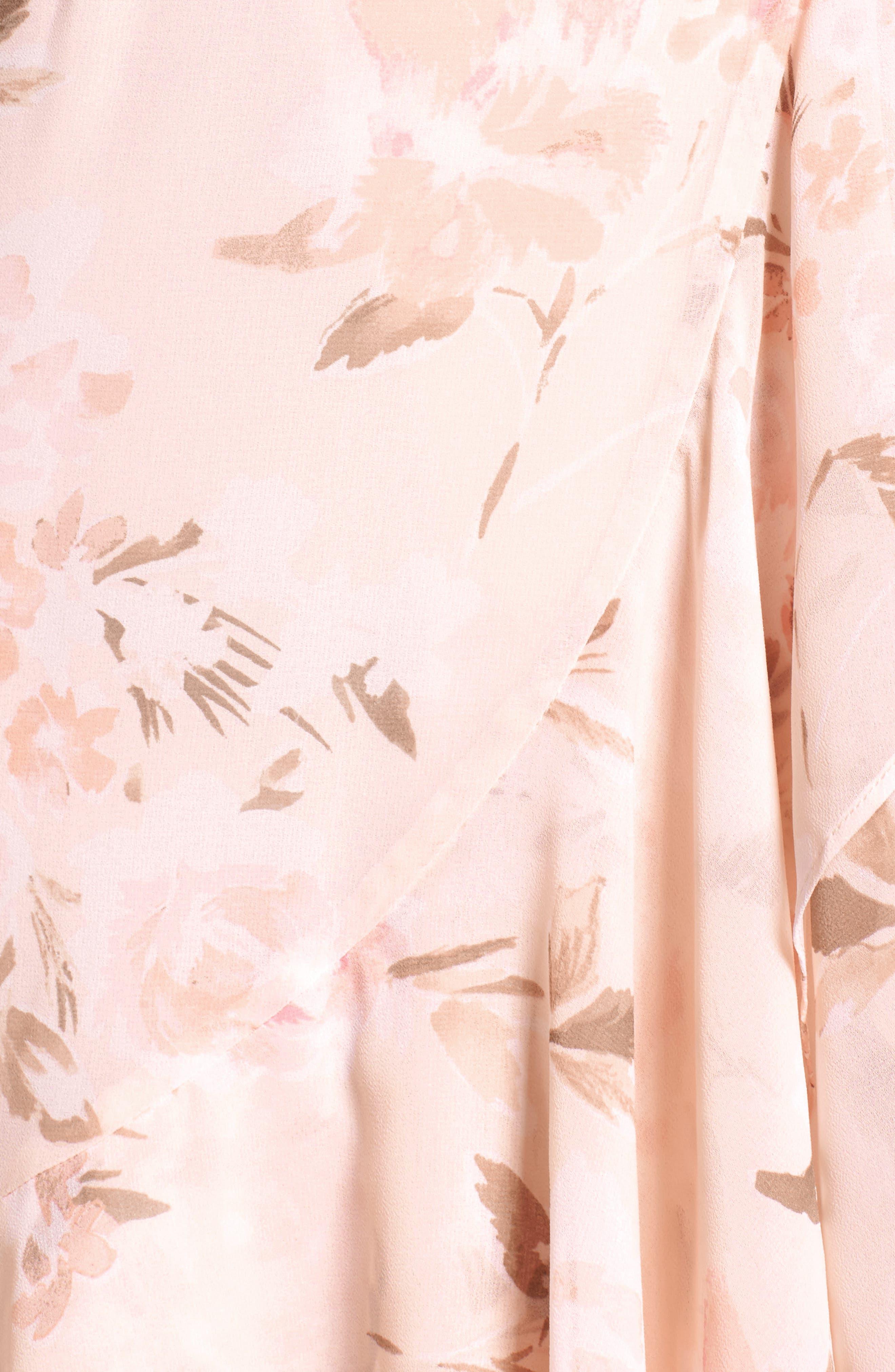Elanor Ruffle Faux Wrap Maxi Dress,                             Alternate thumbnail 5, color,                             Blush Bouquet