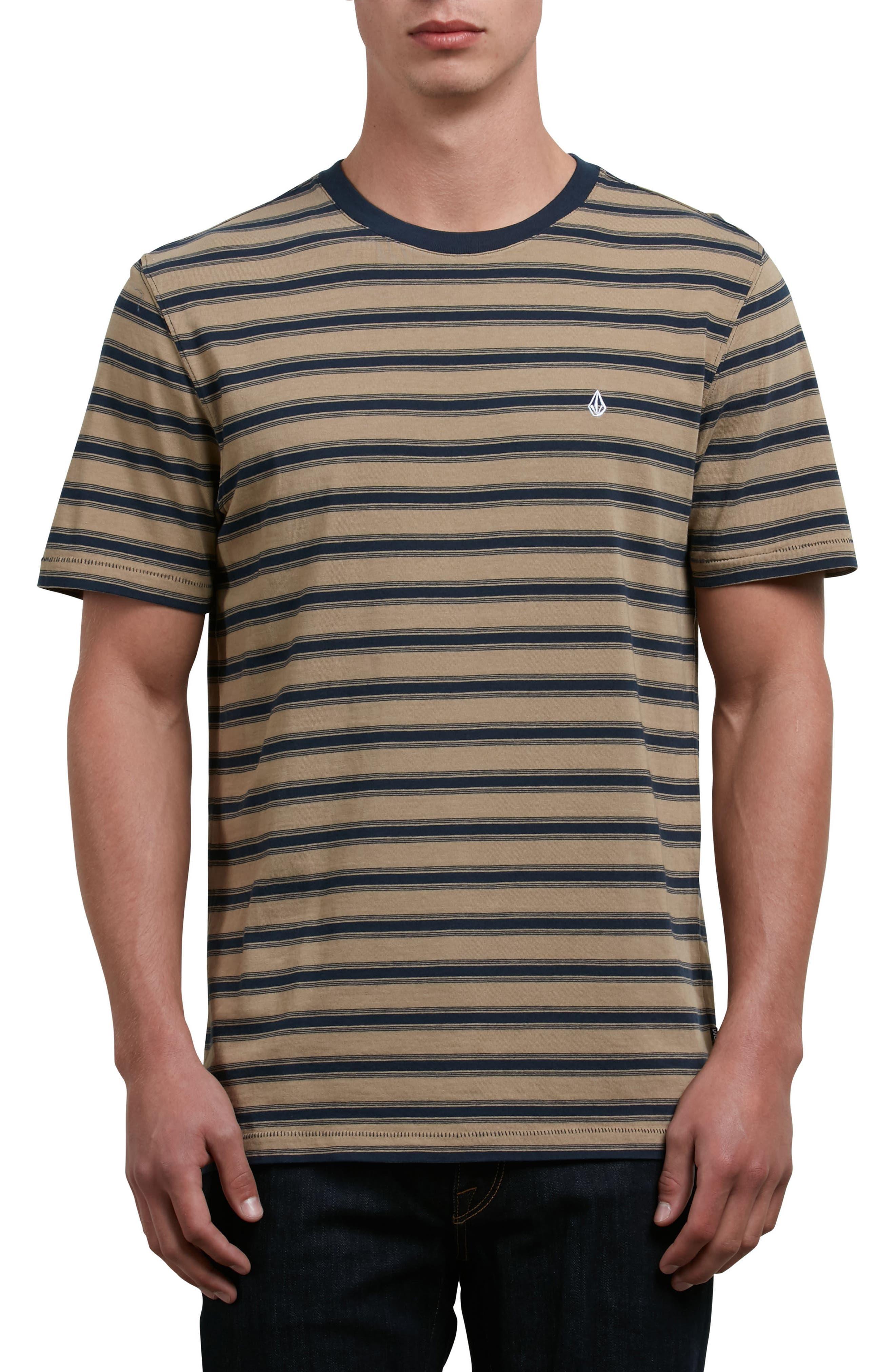 Briggs Stripe Crewneck T-Shirt,                             Main thumbnail 1, color,                             Brown Sand
