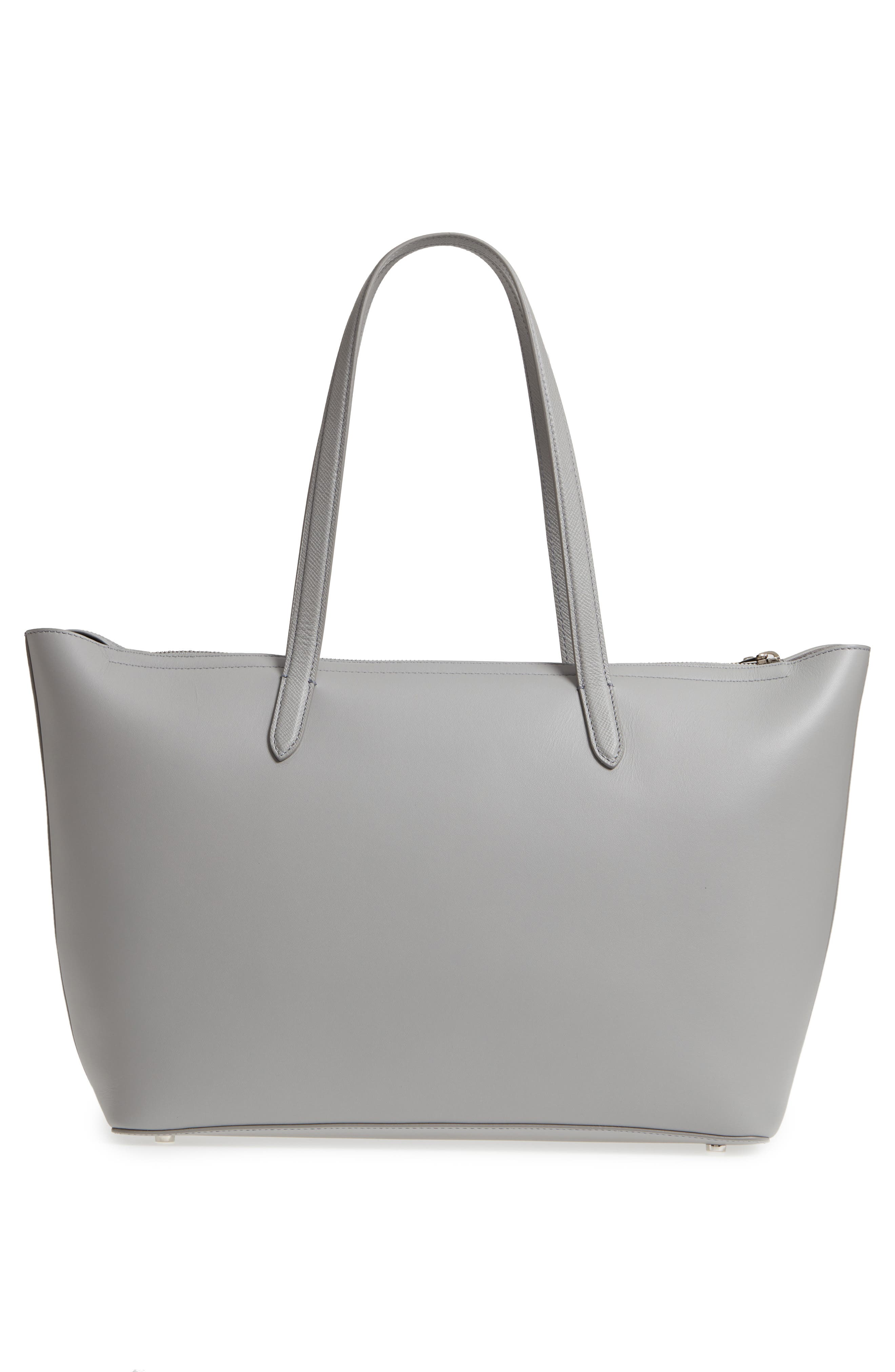 Panama East/West Leather Tote,                             Alternate thumbnail 3, color,                             Cold Grey