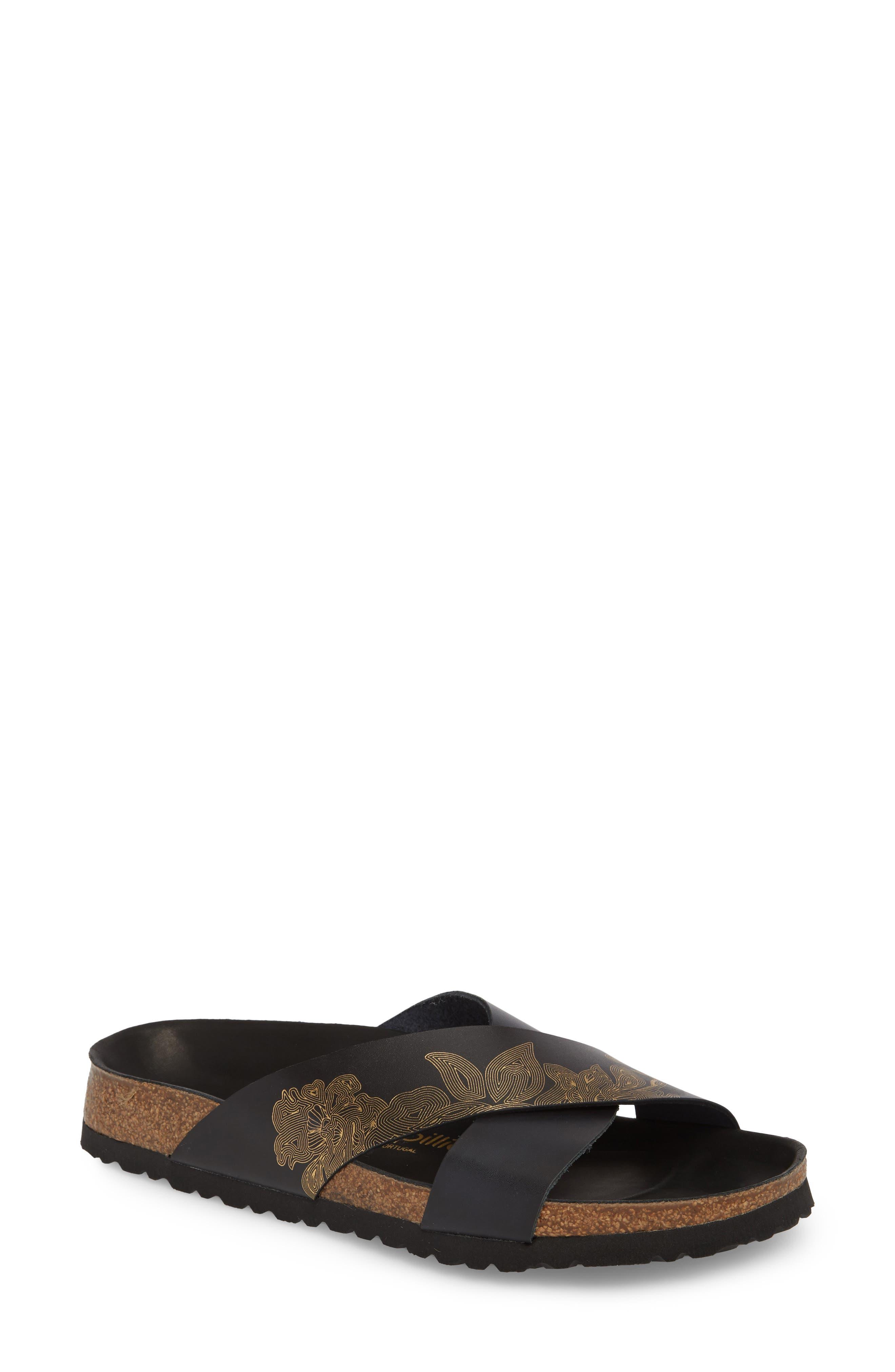 Papillio by Birkenstock Daytona Hex Slide Sandal,                             Main thumbnail 1, color,                             Ornaments Black Leather