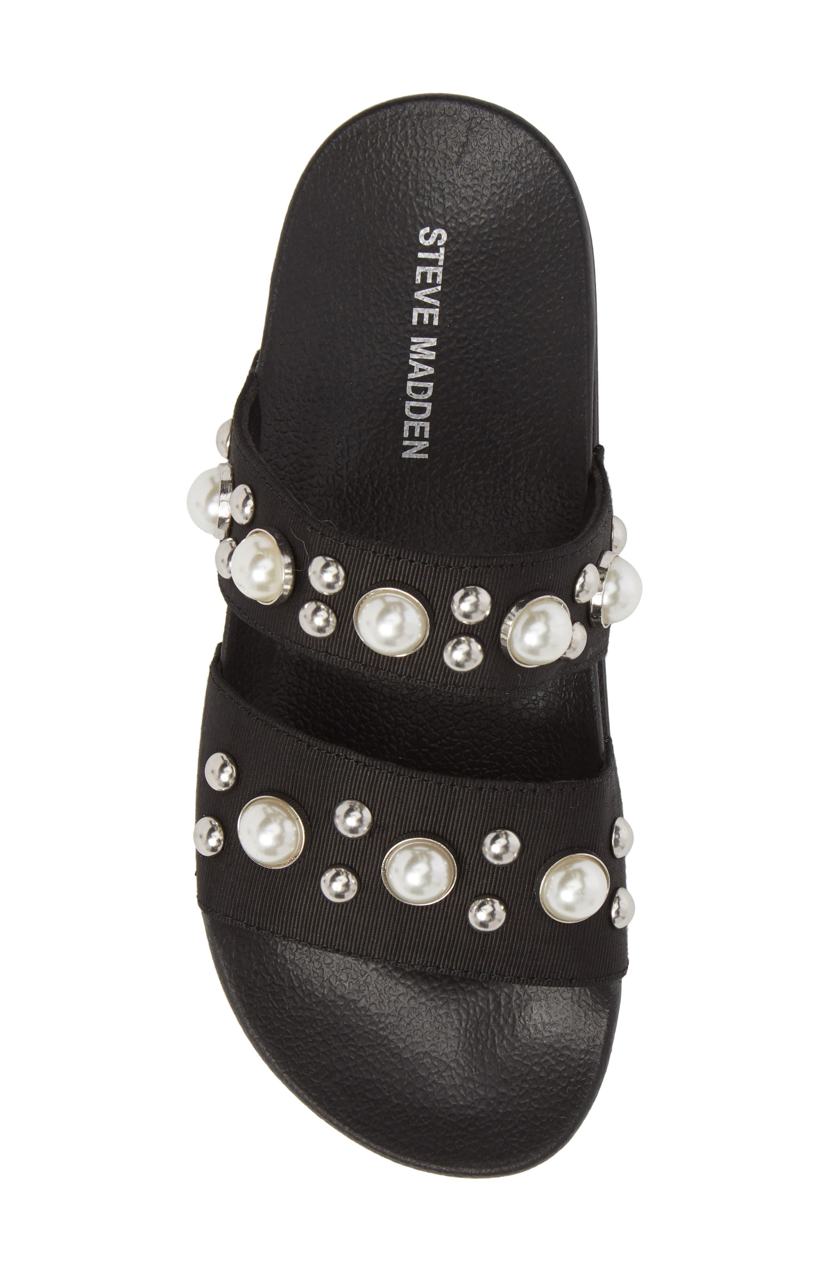 Polite Embellished Slide Sandal,                             Alternate thumbnail 5, color,                             Black