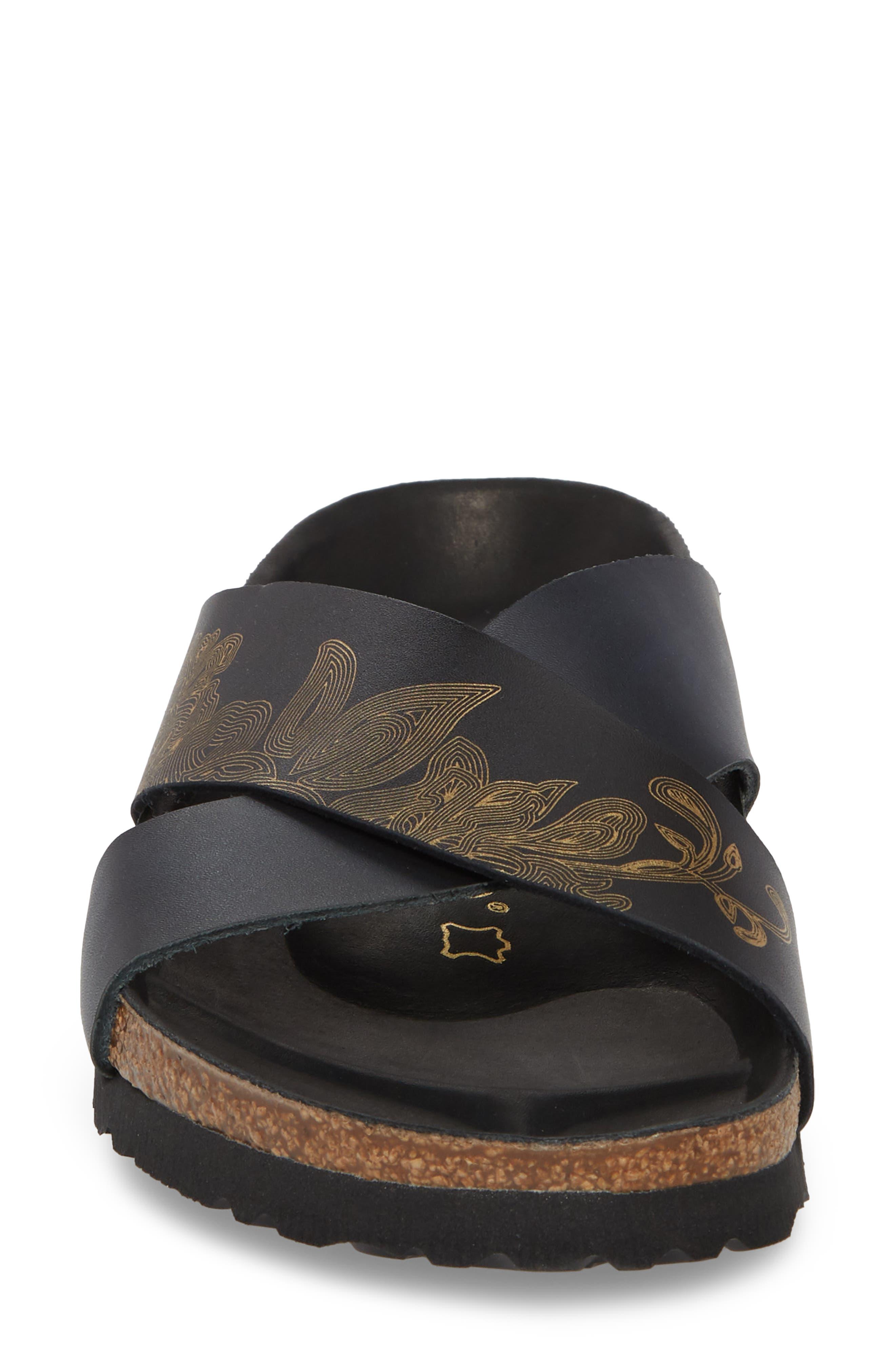 Papillio by Birkenstock Daytona Hex Slide Sandal,                             Alternate thumbnail 4, color,                             Ornaments Black Leather