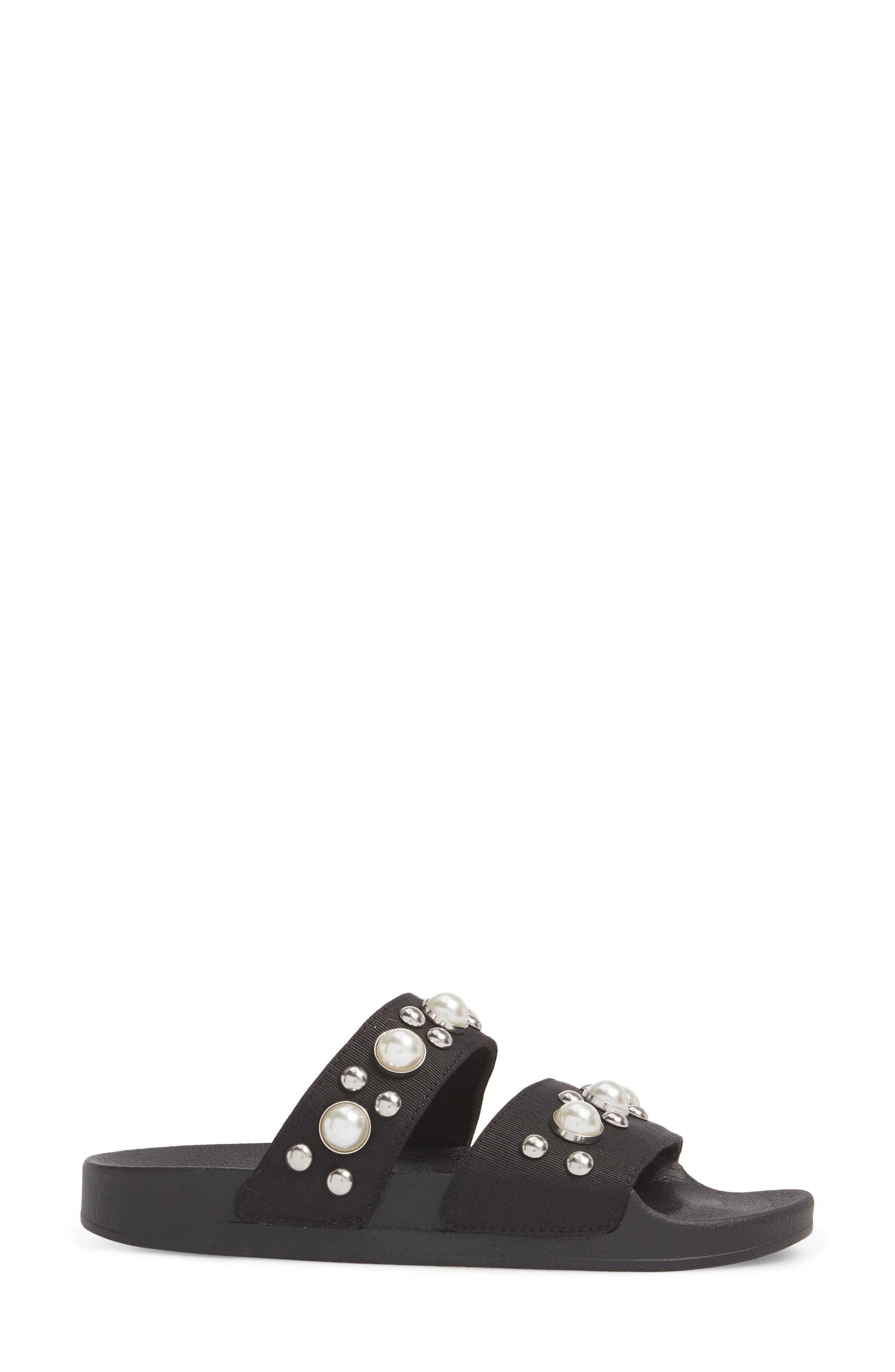 Polite Embellished Slide Sandal,                             Alternate thumbnail 3, color,                             Black