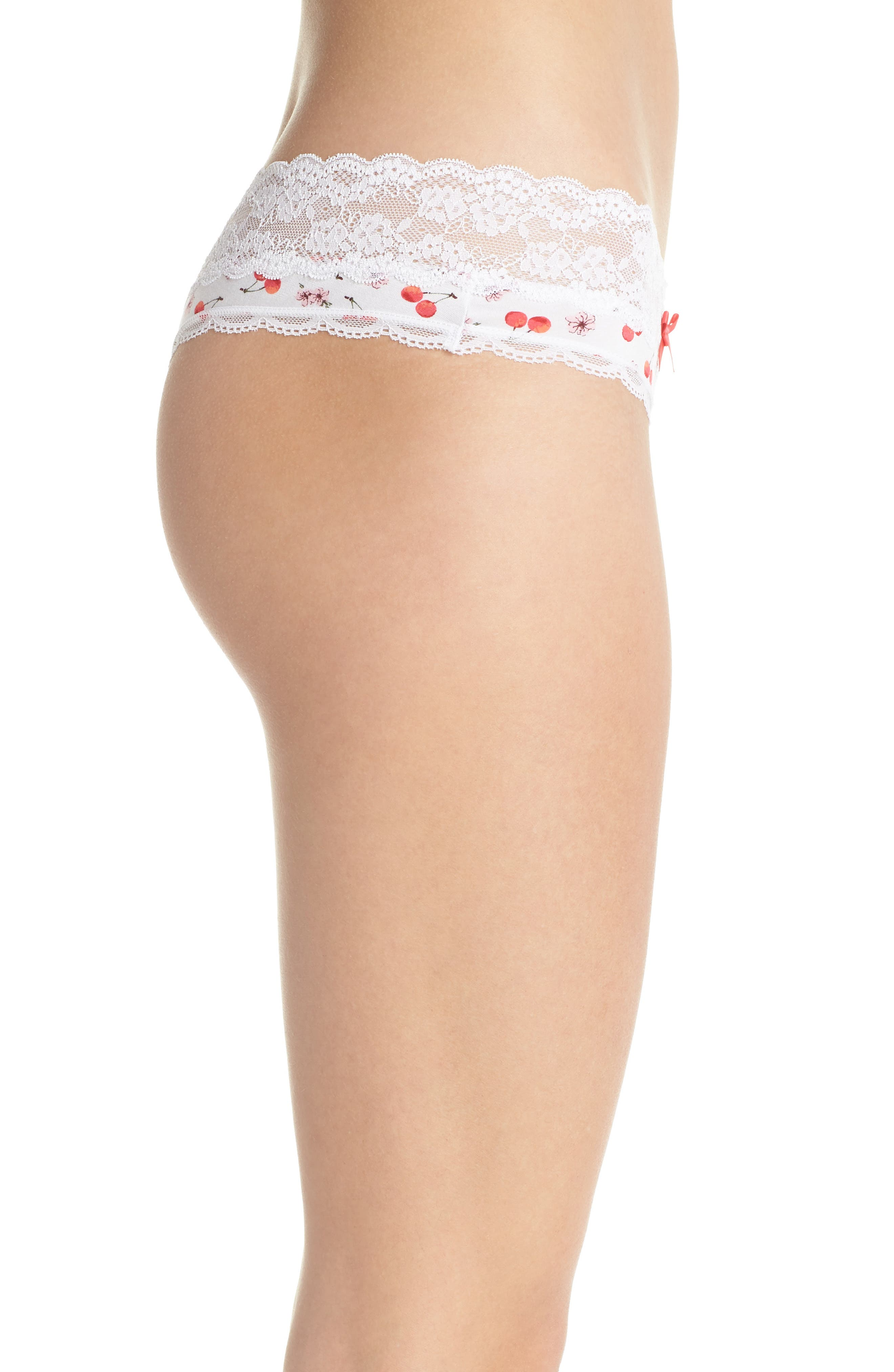 Lace Trim Low Rise Thong,                             Alternate thumbnail 3, color,                             White Cherry Blossom