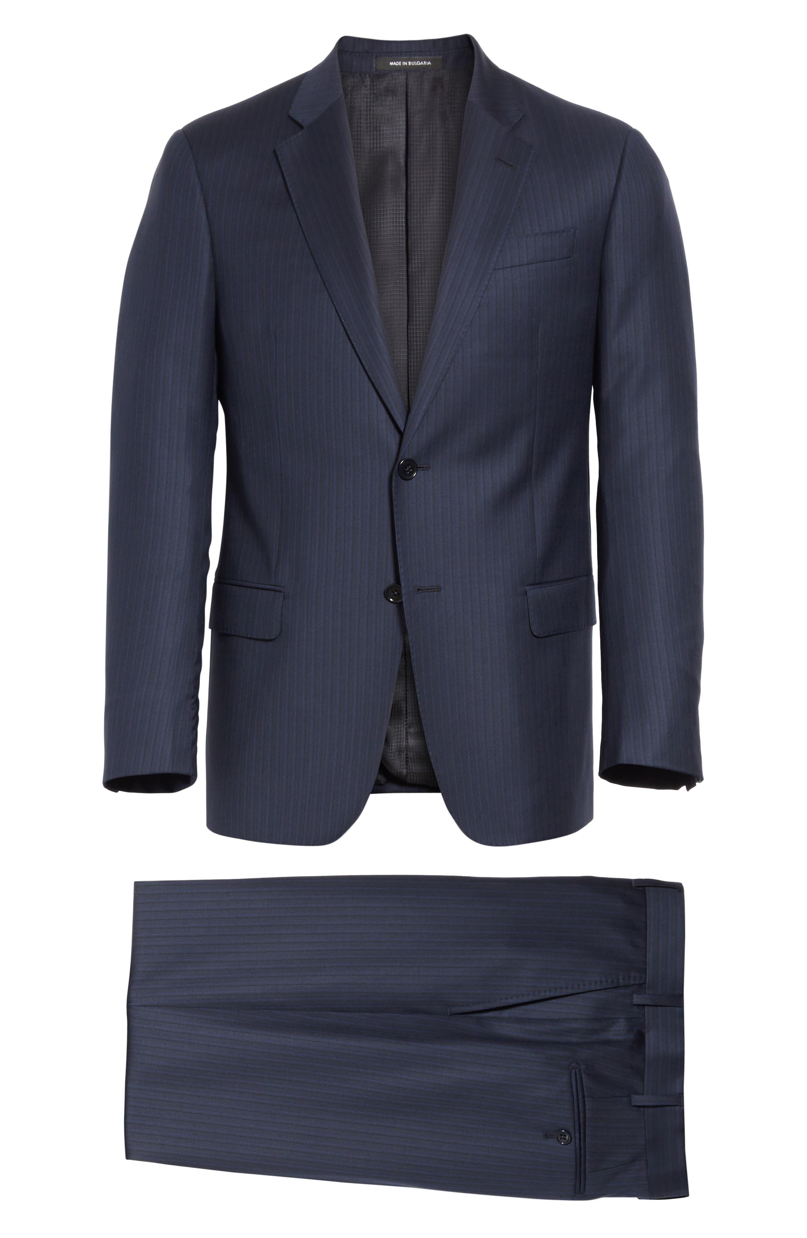 G Line Trim Fit Stripe Wool Suit,                             Alternate thumbnail 7, color,                             Blue