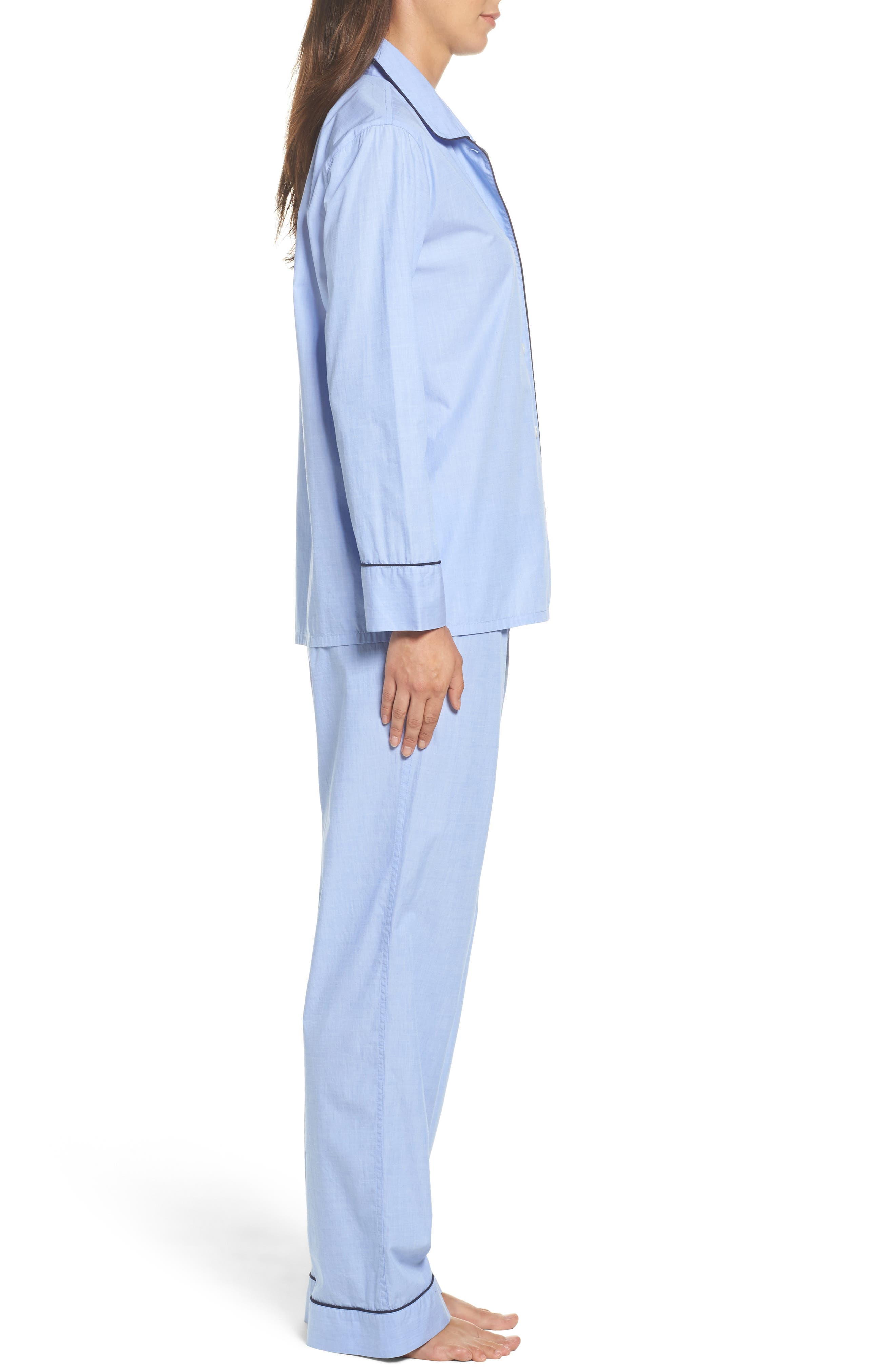 J.Crew Vintage Cotton Pajamas,                             Alternate thumbnail 3, color,                             Hydrangea