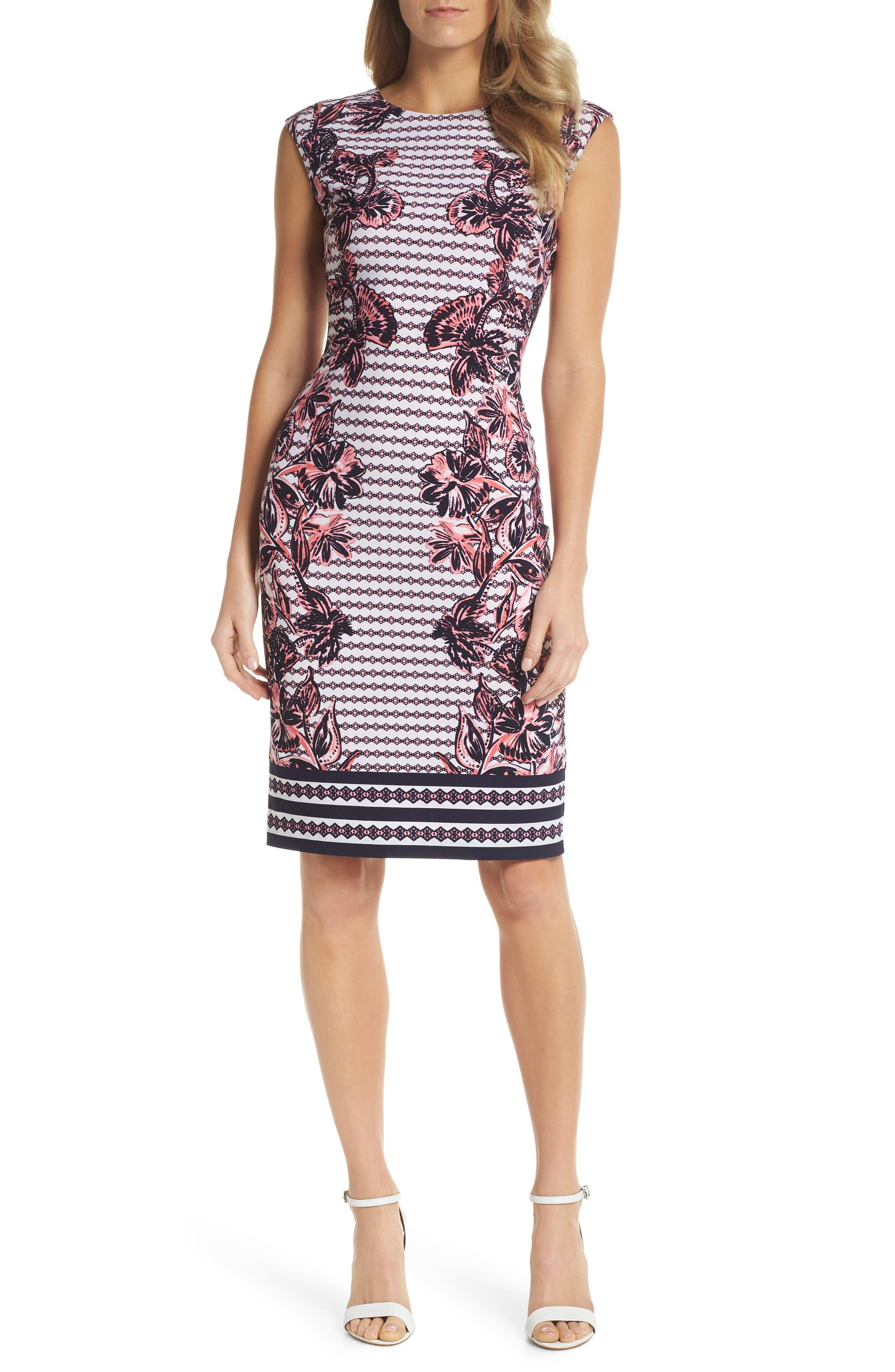 Print Scuba Crepe Sheath Dress,                             Main thumbnail 1, color,                             Navy/ Pink
