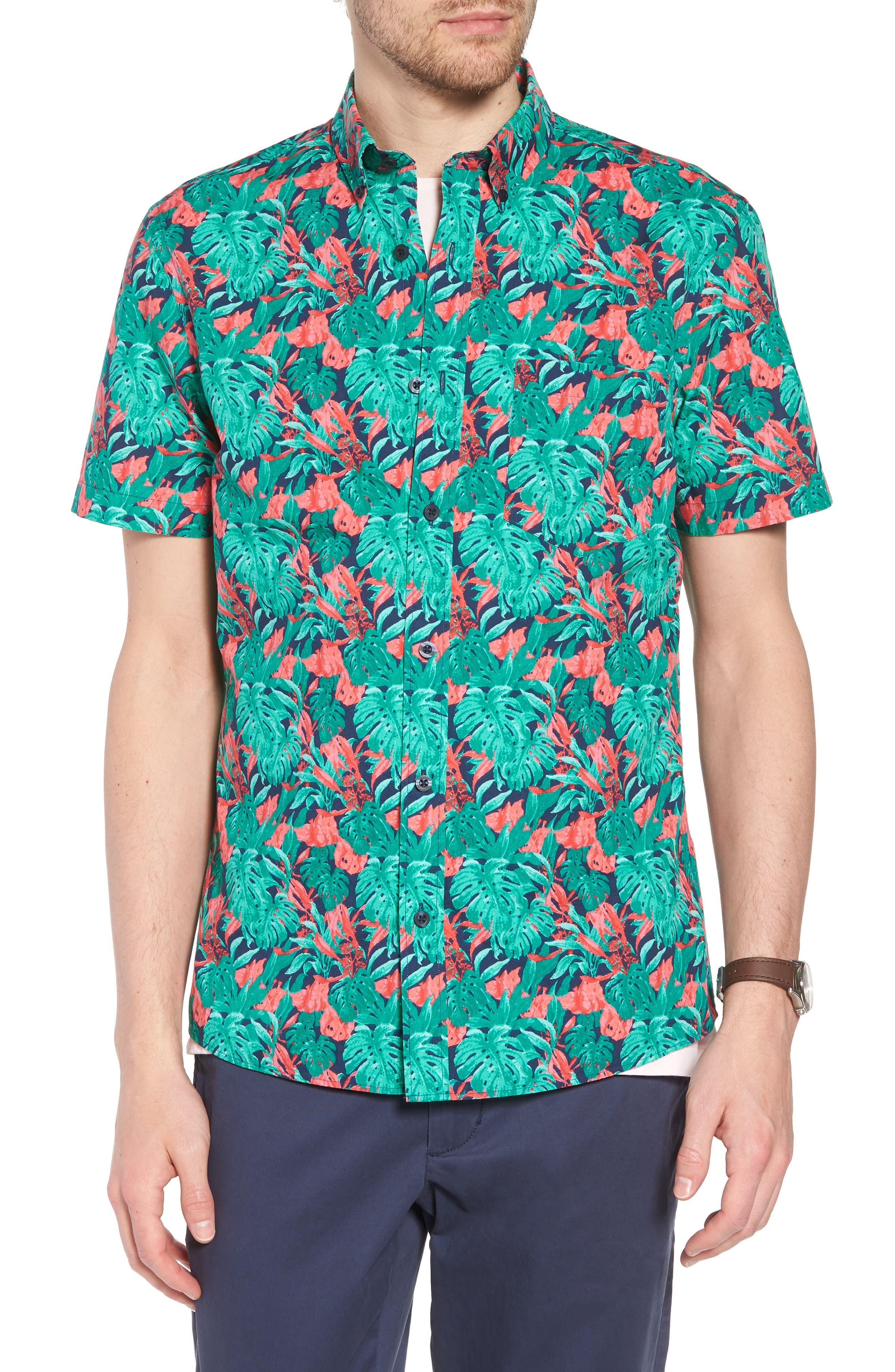 Trim Fit Print Short Sleeve Sport Shirt,                             Main thumbnail 1, color,                             Green Red Split Leaves
