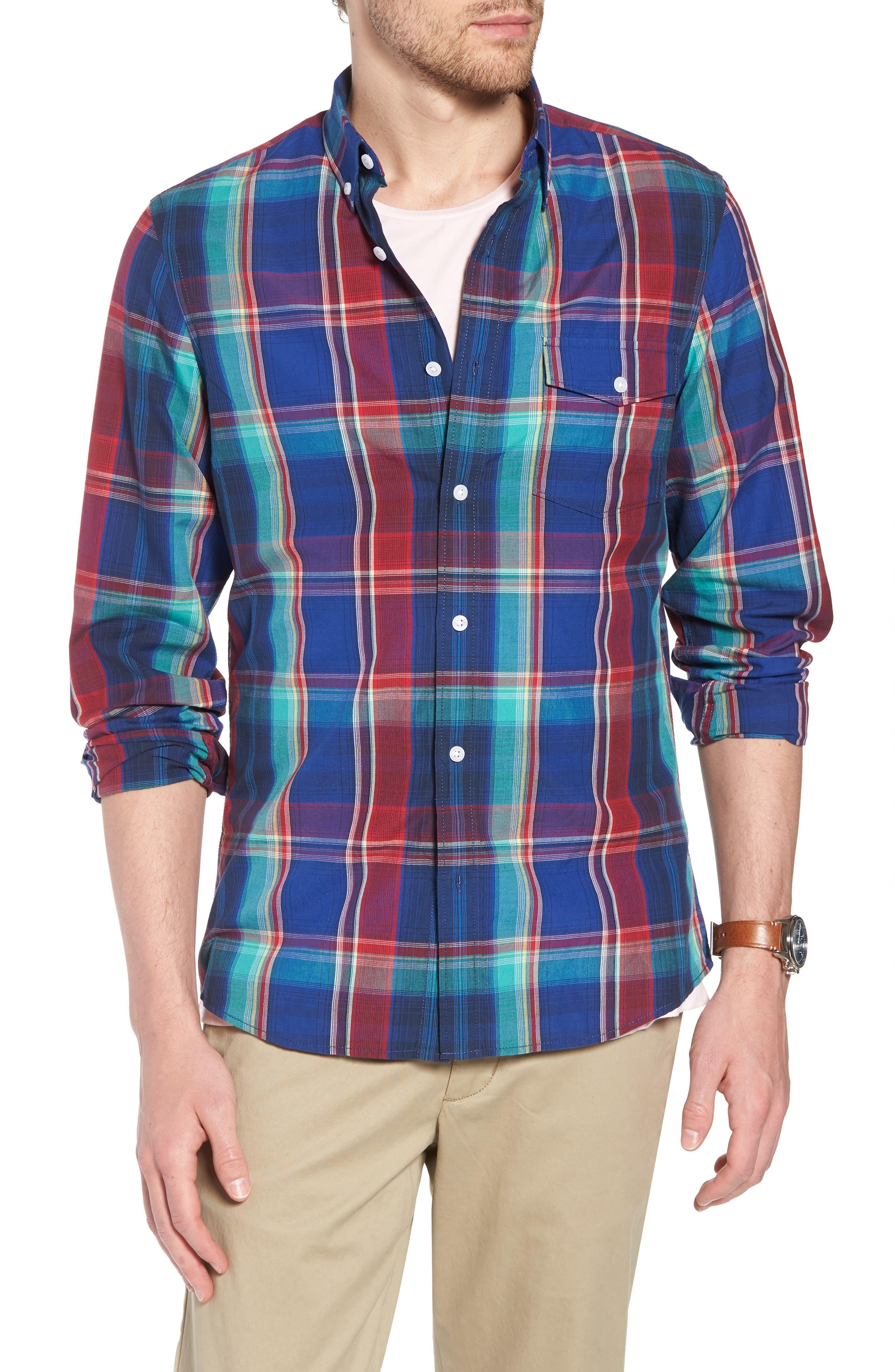 Ivy Trim Fit Madras Plaid Sport Shirt,                         Main,                         color, Navy Red Fine Line Plaid