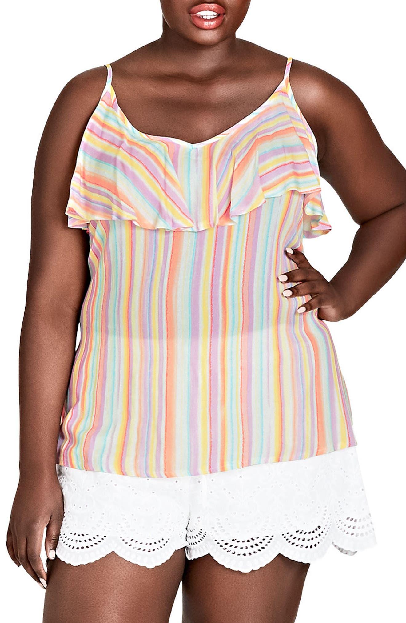 Island Stripe Ruffle Top,                             Main thumbnail 1, color,                             Island Stripe
