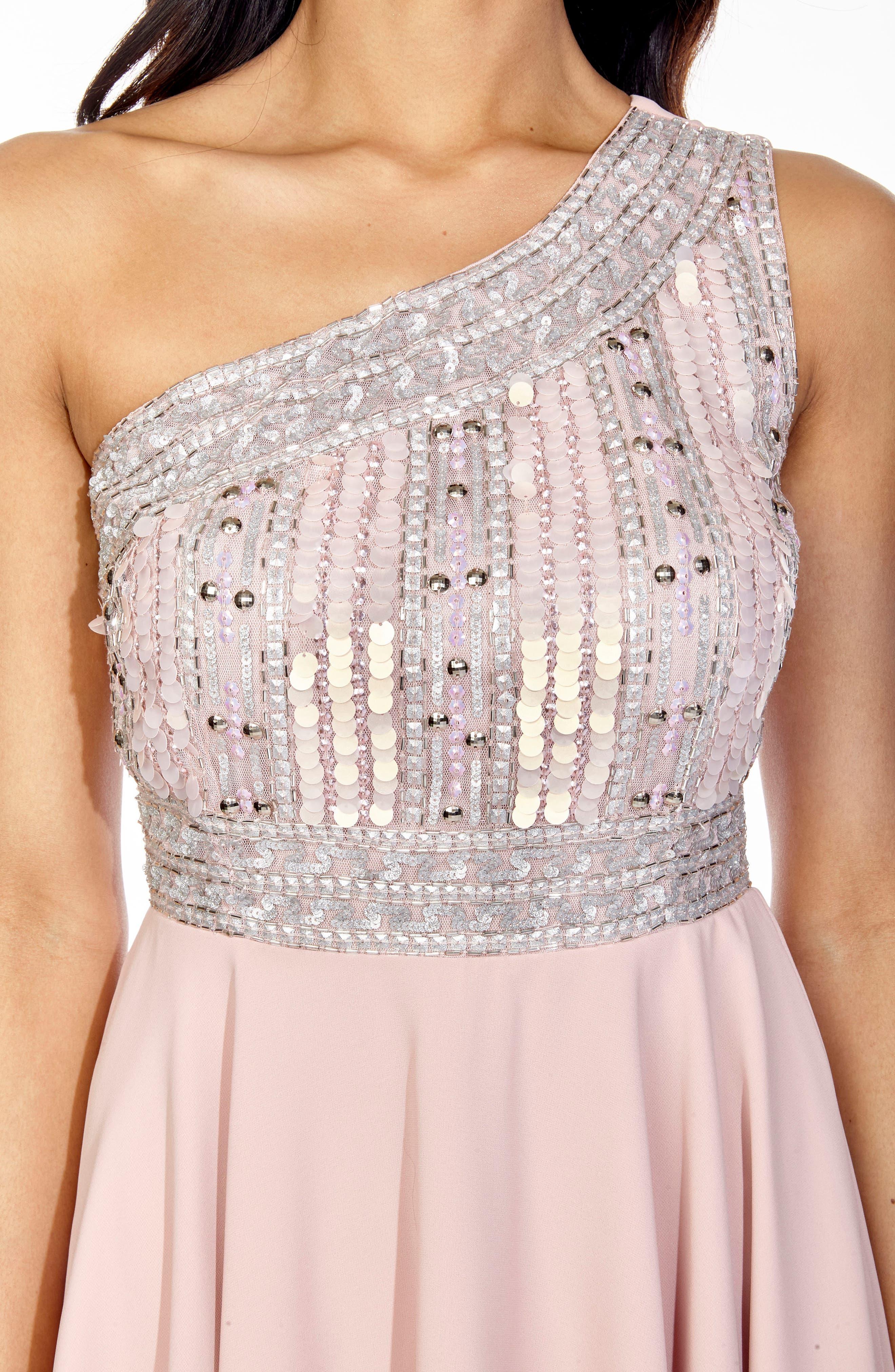 Althea Embellished One-Shoulder Dress,                             Alternate thumbnail 4, color,                             Pink