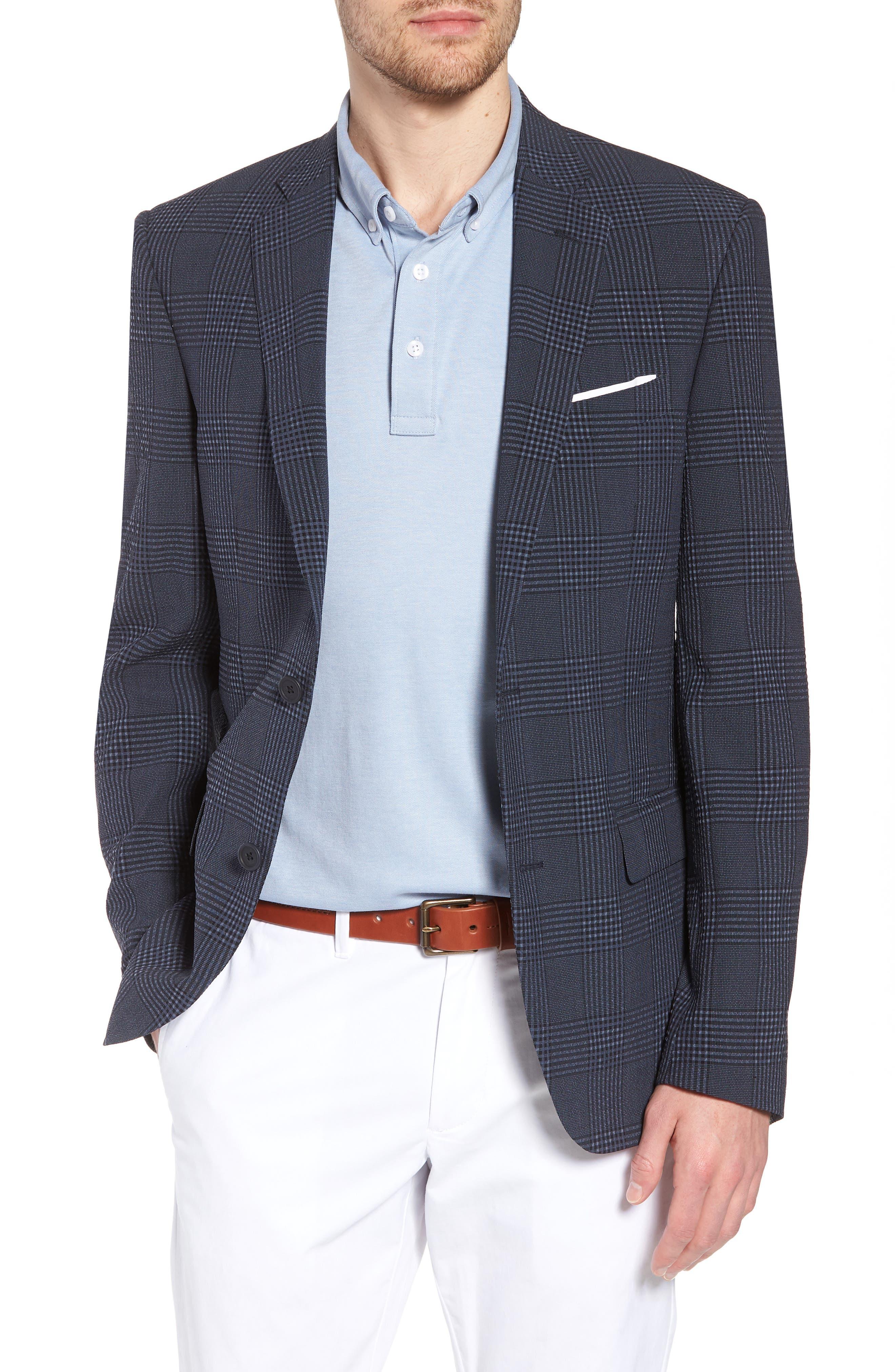 Trim Fit Plaid Wool Blend Sport Coat,                             Main thumbnail 1, color,                             Navy