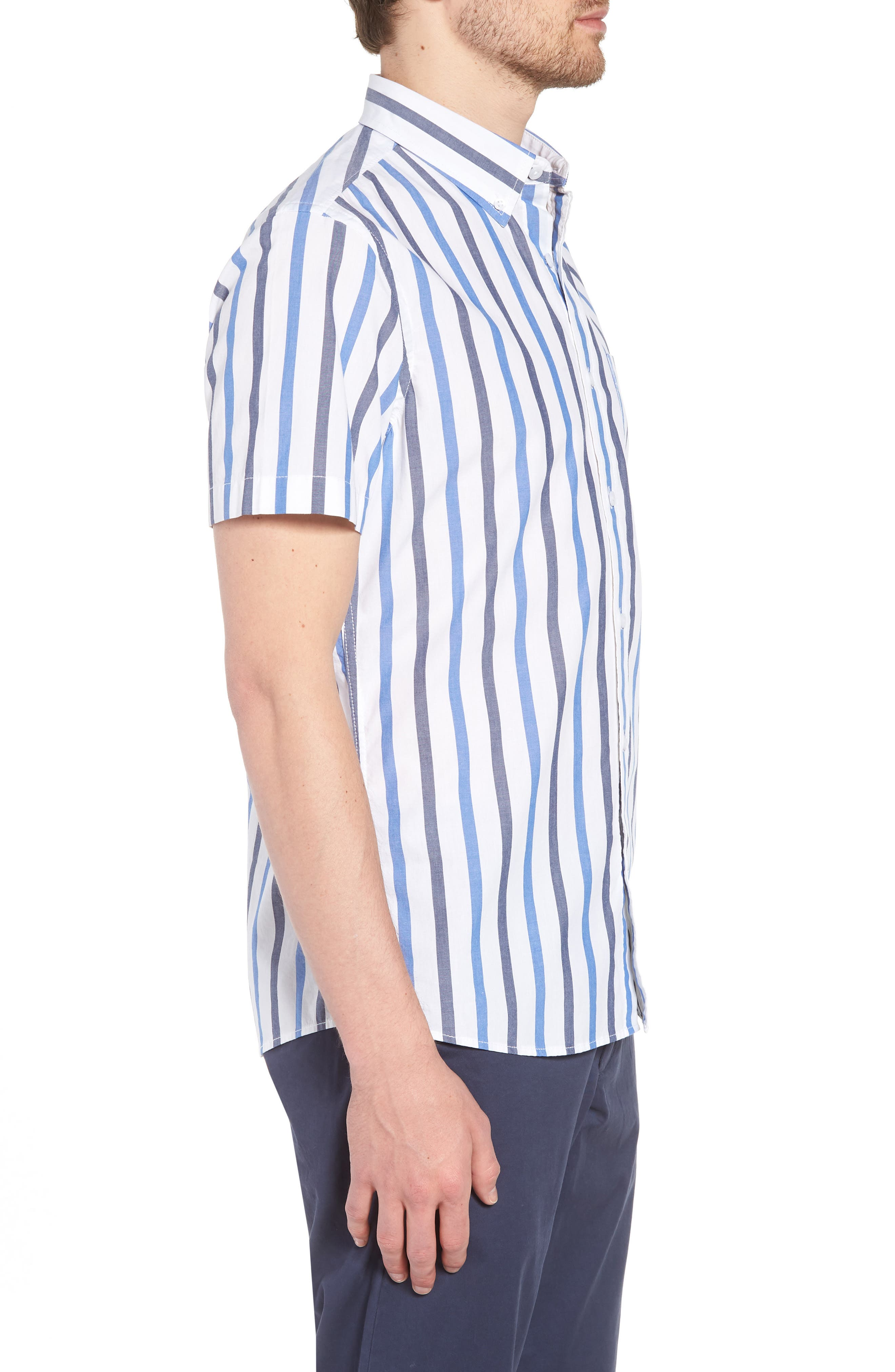 Trim Fit Stripe Stretch Sport Shirt,                             Alternate thumbnail 4, color,                             White Blue Stripe