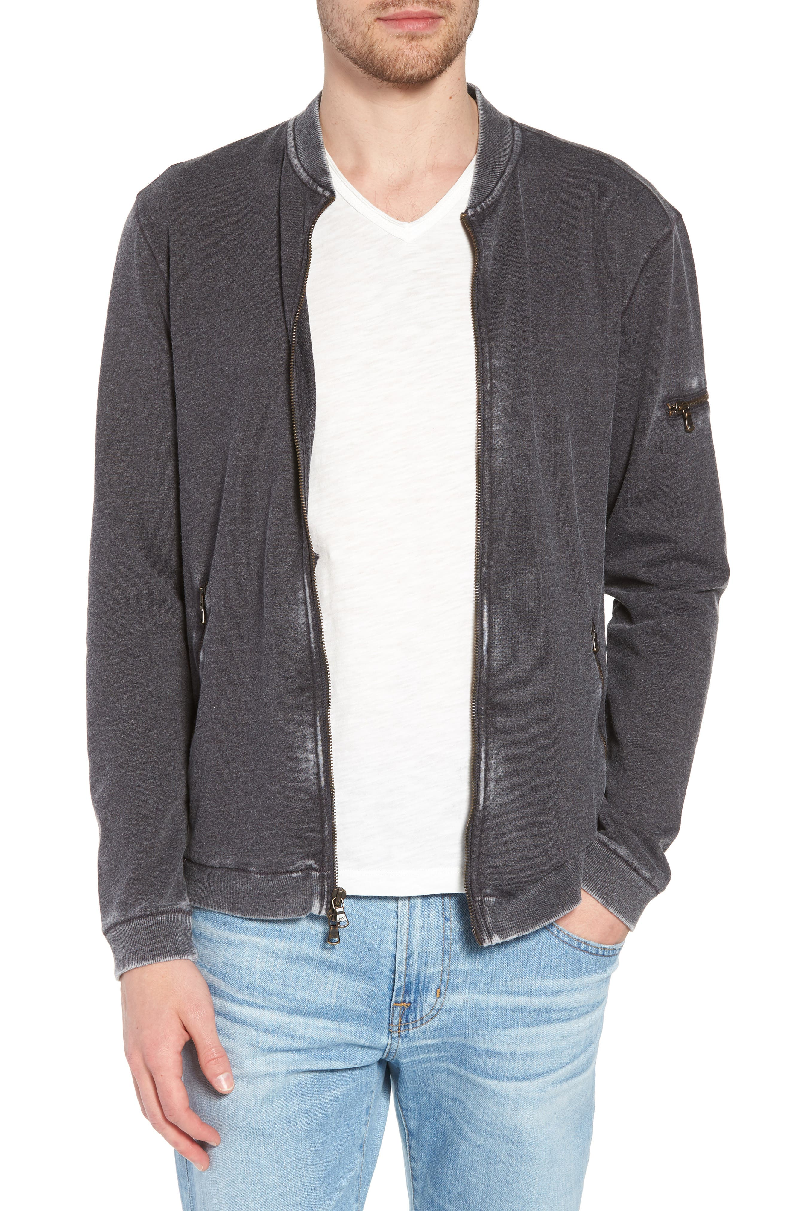 Burnout French Terry Zip Sweater,                         Main,                         color, Metal Grey