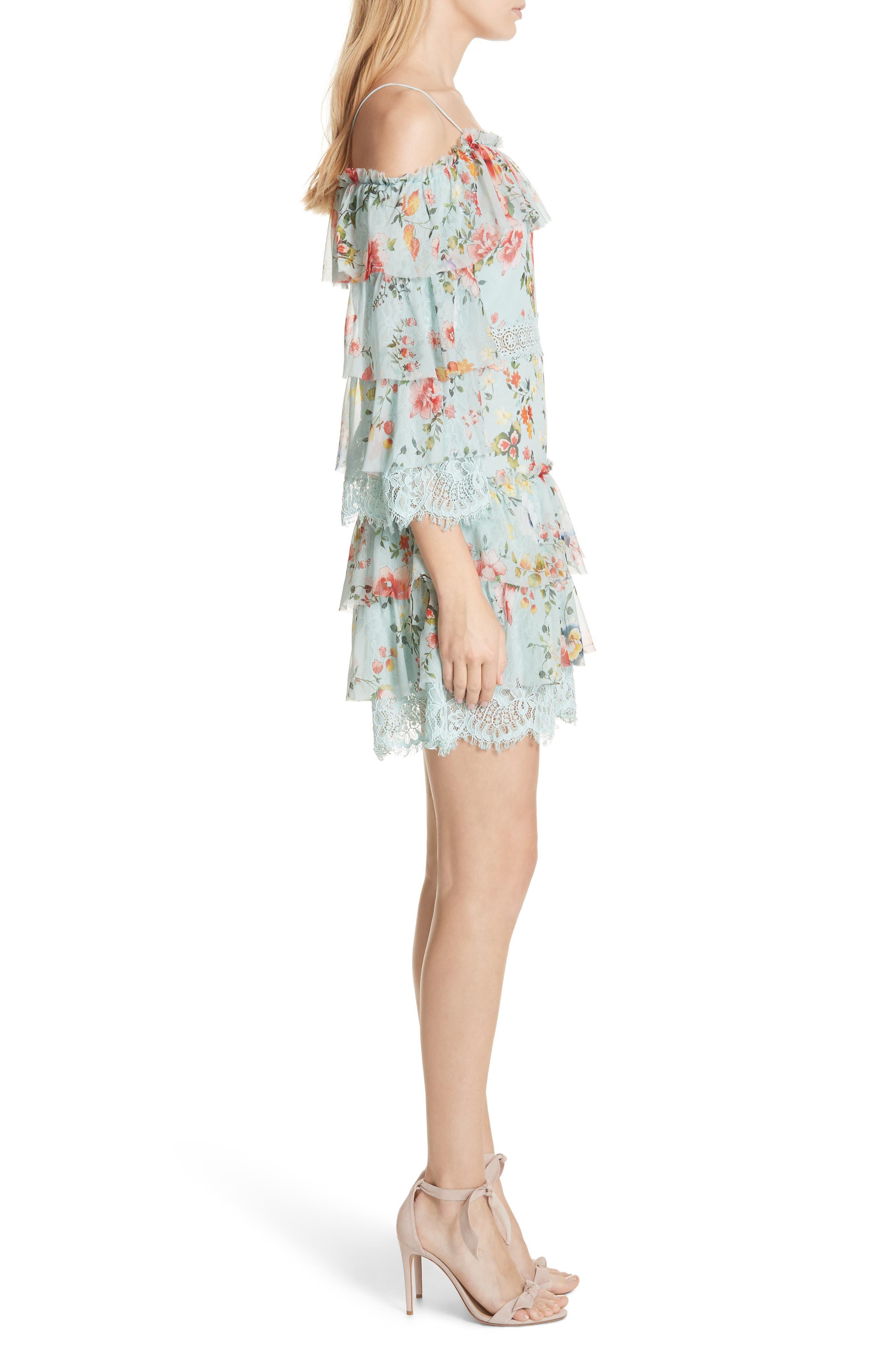 Santos Cold Shoulder Tiered Silk Dress,                             Alternate thumbnail 3, color,                             Floral Soiree-Dusty Aqua