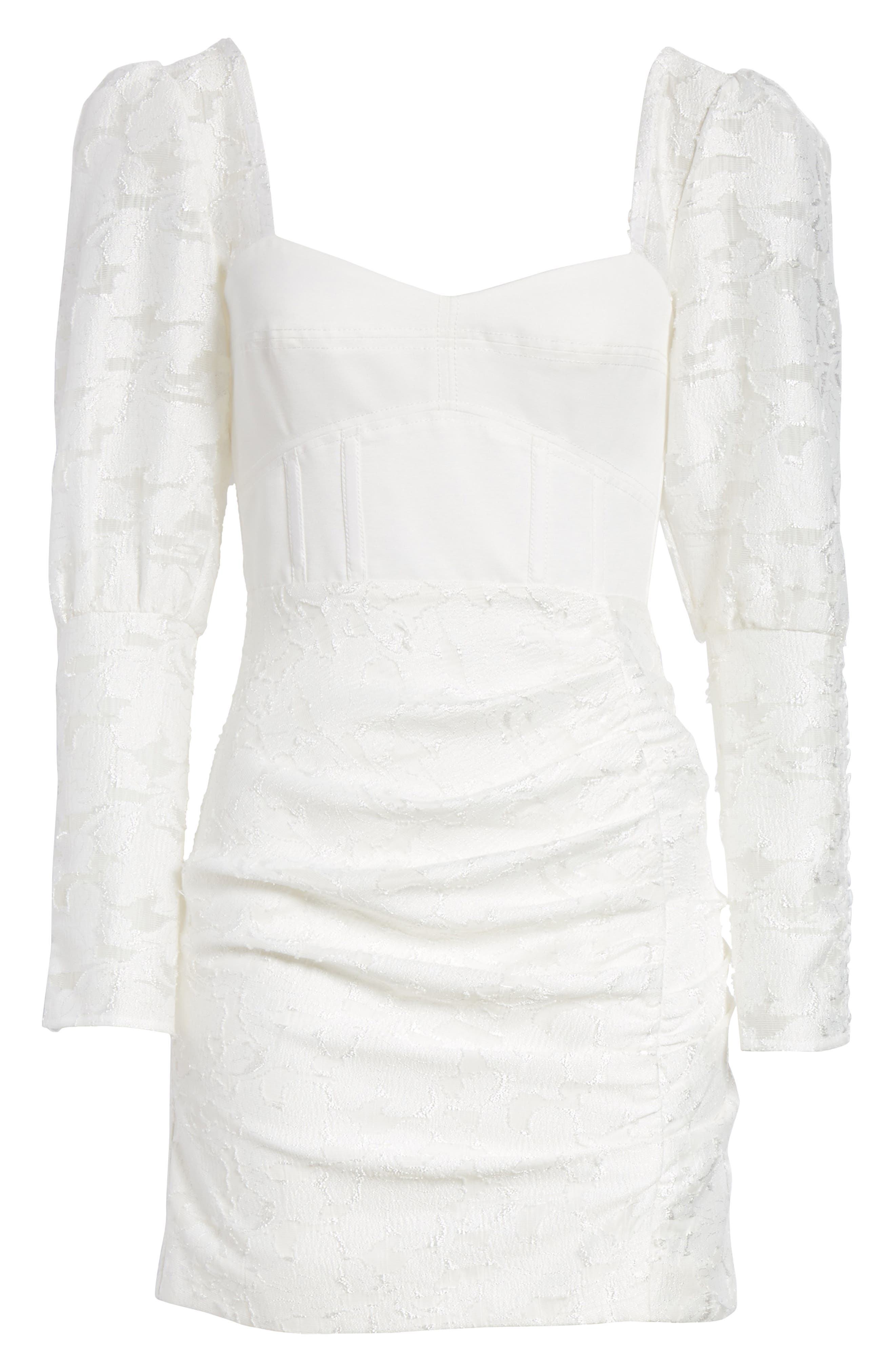 Floral Fil Coupé Bustier Dress,                             Alternate thumbnail 6, color,                             White