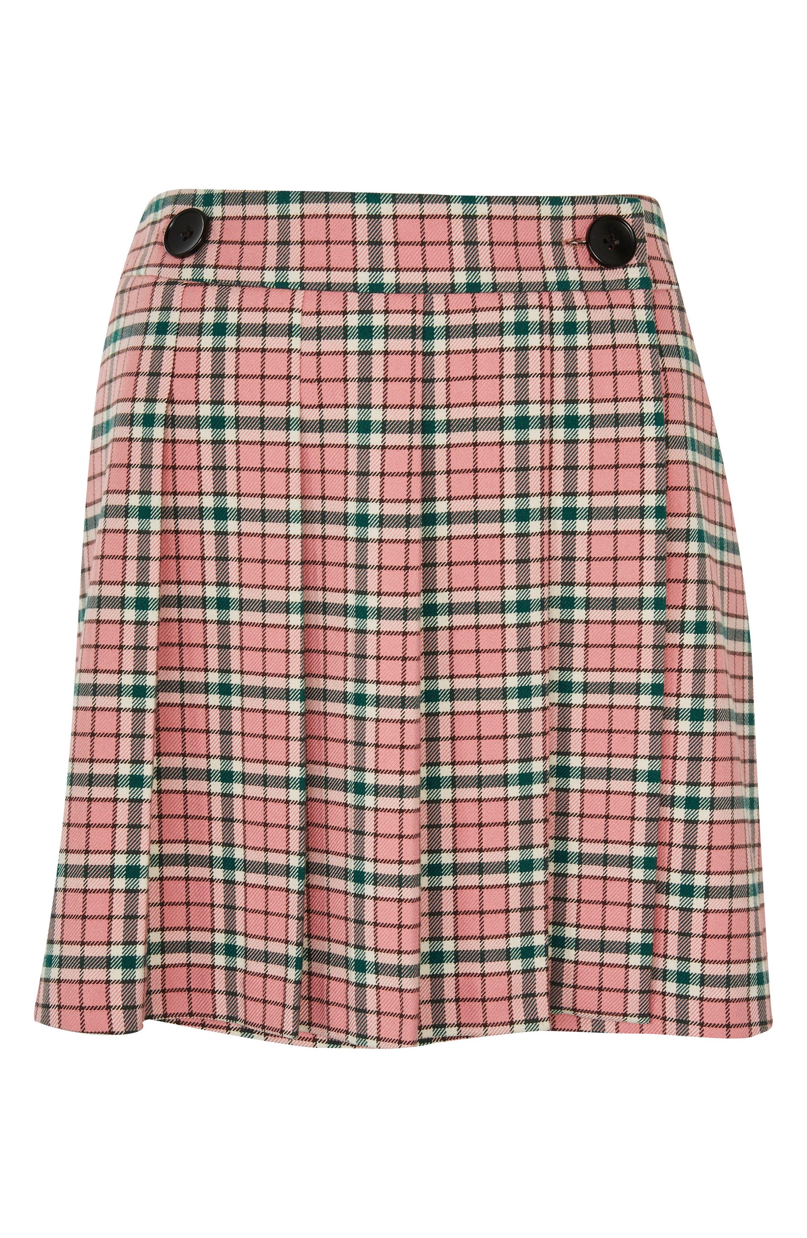 Summer Check Kilt Miniskirt,                             Alternate thumbnail 4, color,                             Pink Multi