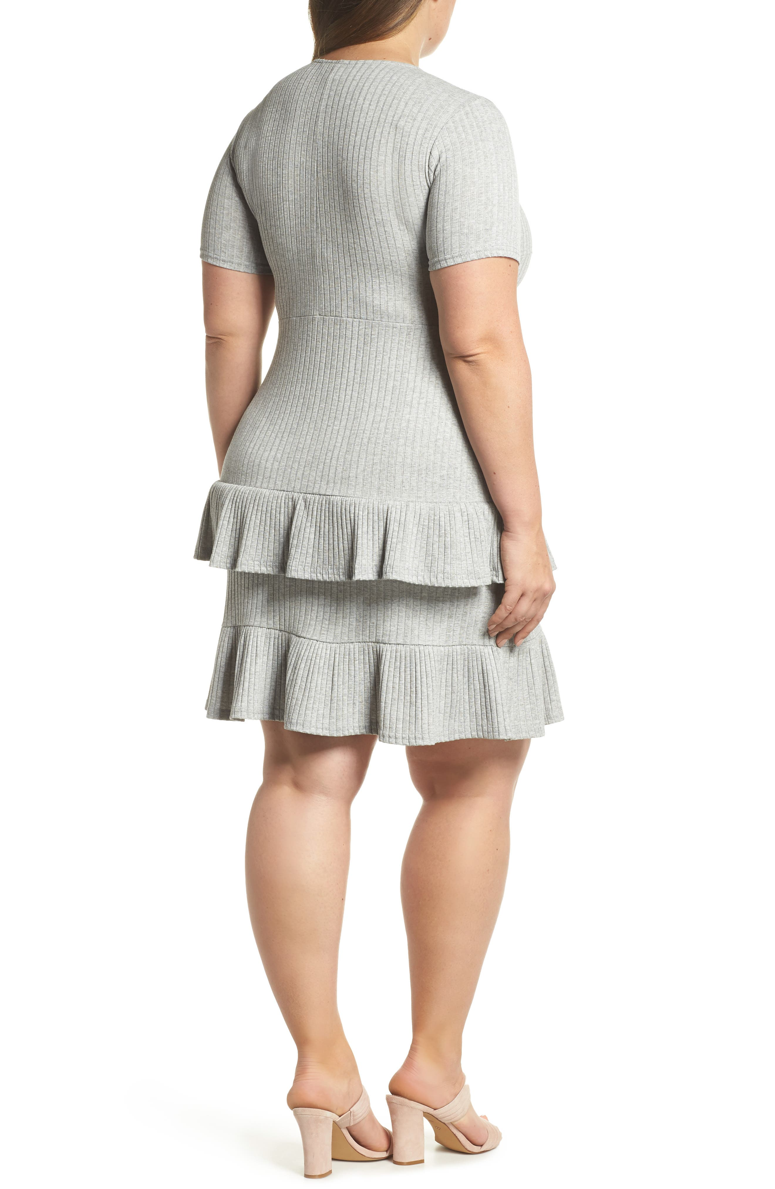 Fit & Flare Ribbed Dress,                             Alternate thumbnail 2, color,                             Grey