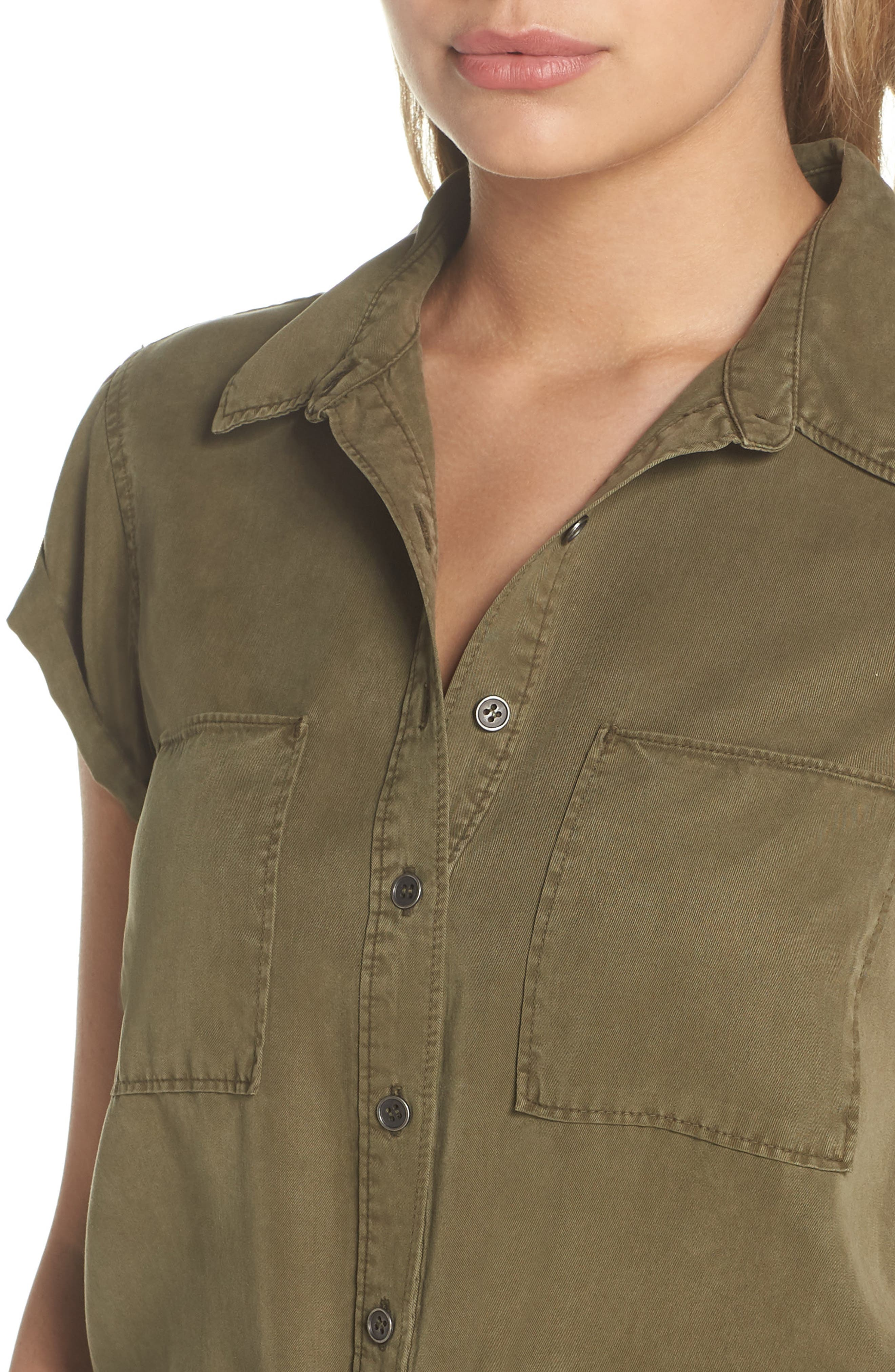 Mila Shirtdress,                             Alternate thumbnail 4, color,                             Desert Olive