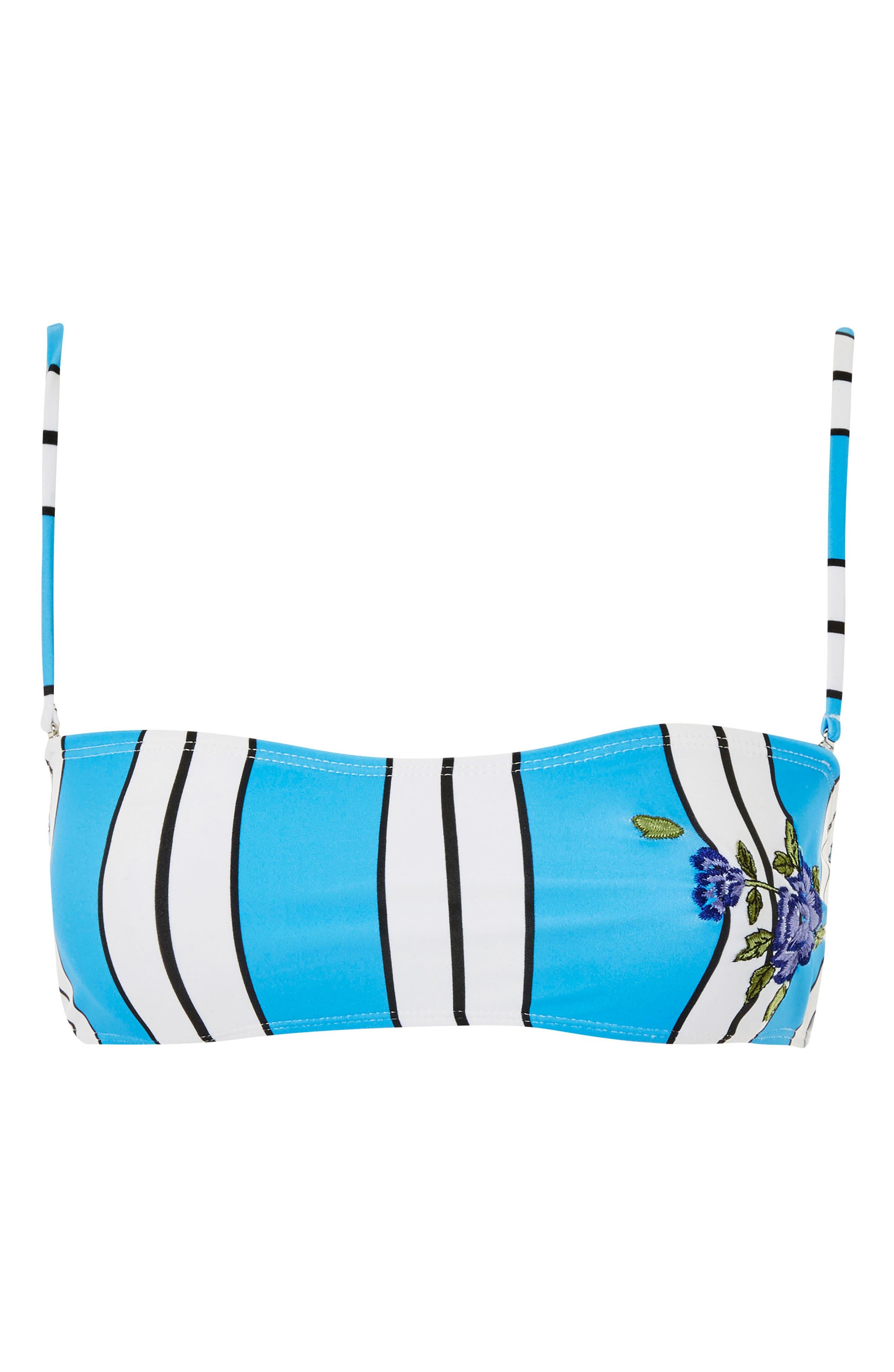 Stripe Floral Embroidered Bandeau Bikini Top,                             Alternate thumbnail 2, color,                             Blue Multi