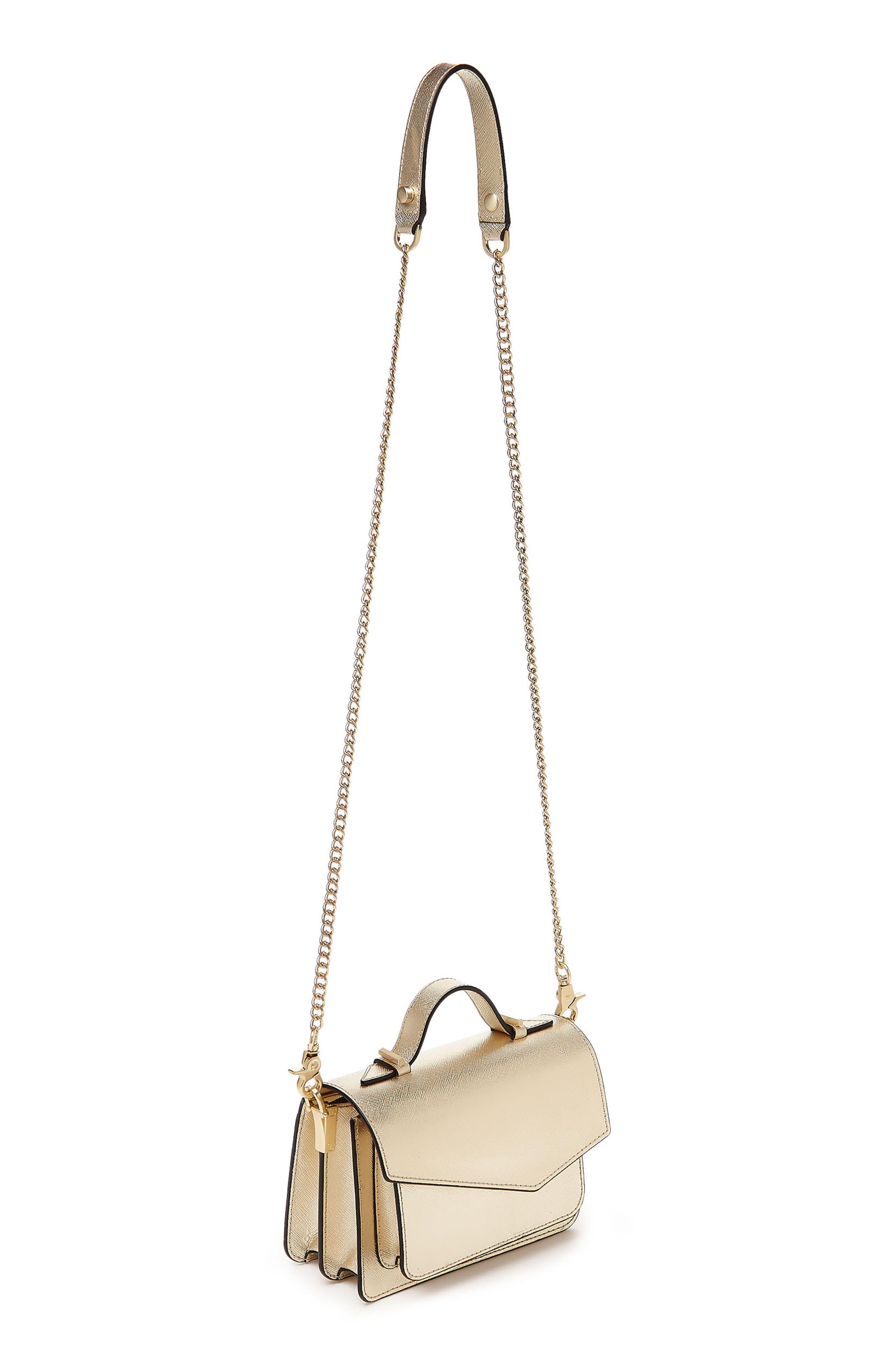 Mini Cobble Hill Calfskin Leather Crossbody Bag,                             Alternate thumbnail 3, color,                             Gold