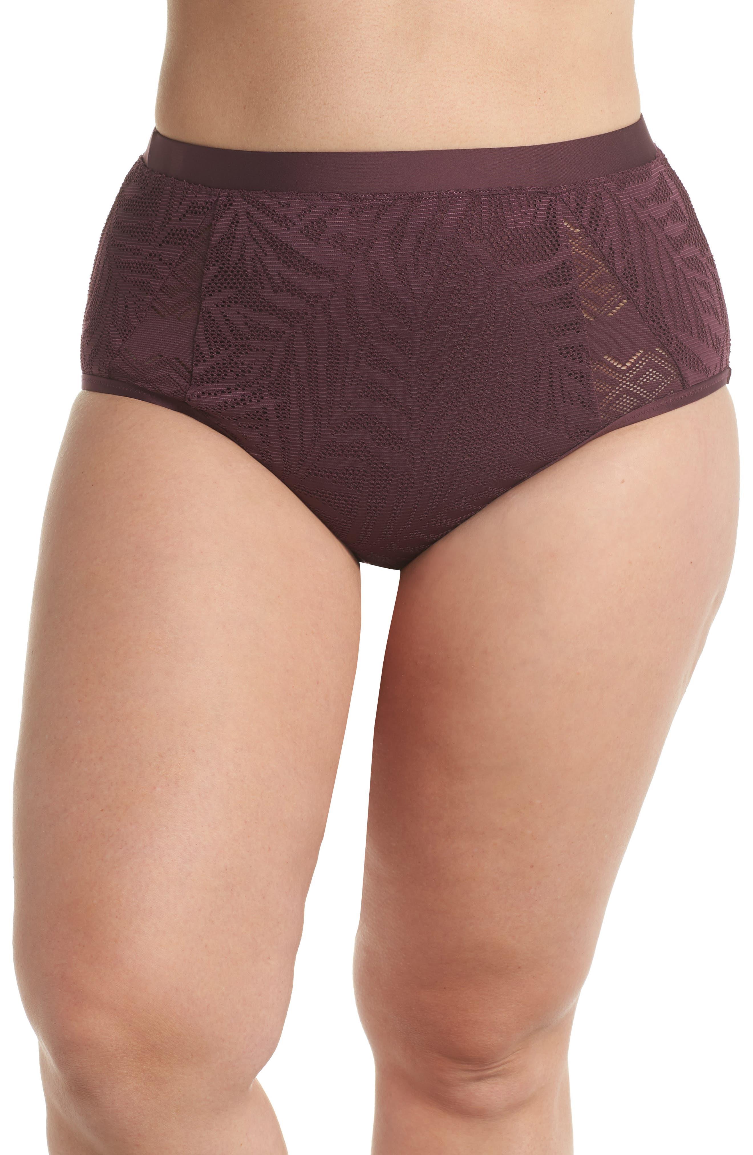 Crochet Inset High Waist Bikini Bottoms,                             Main thumbnail 1, color,                             Wine