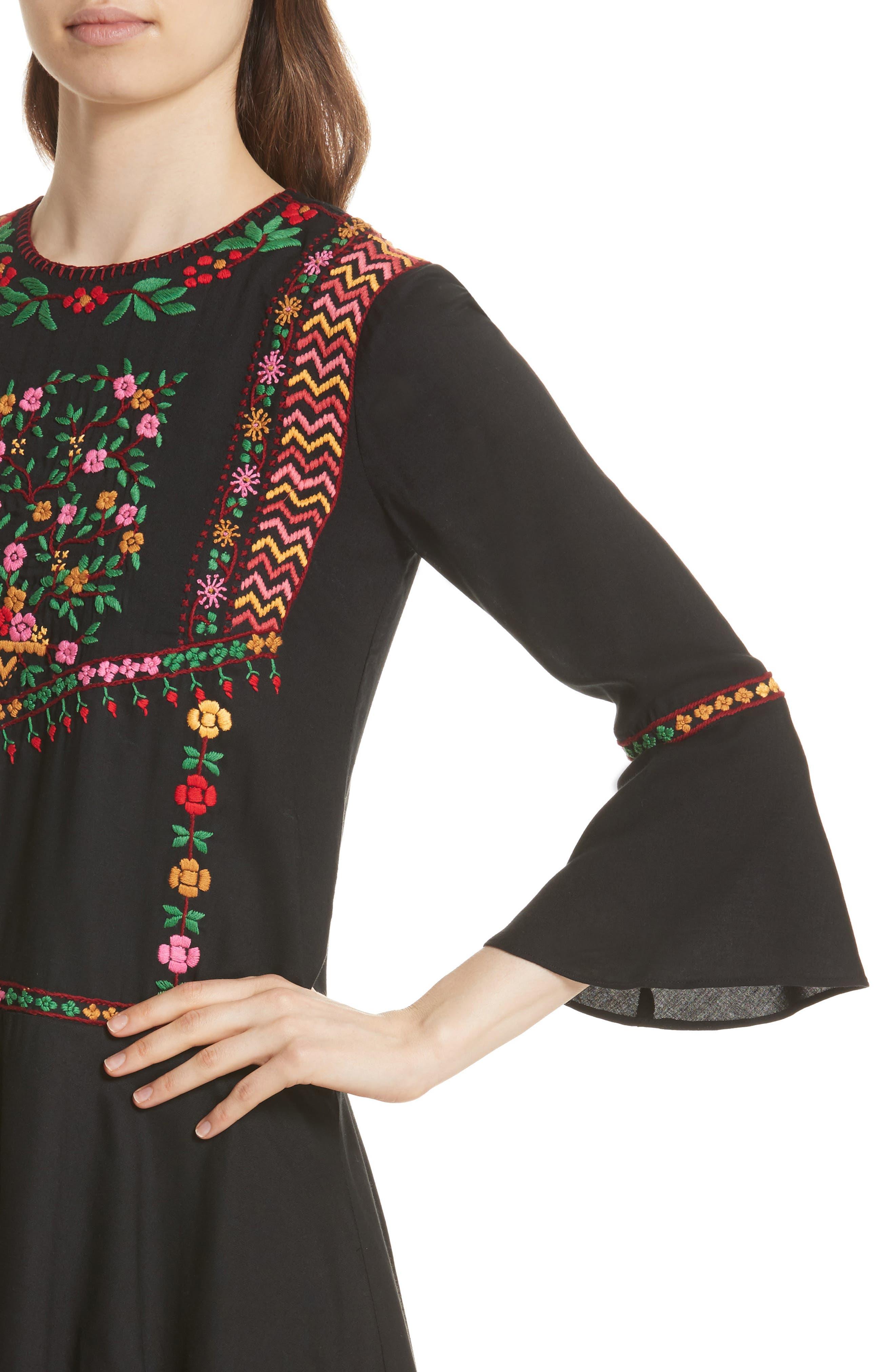 Gosinda Embroidered Dress,                             Alternate thumbnail 4, color,                             Caviar/ Multi