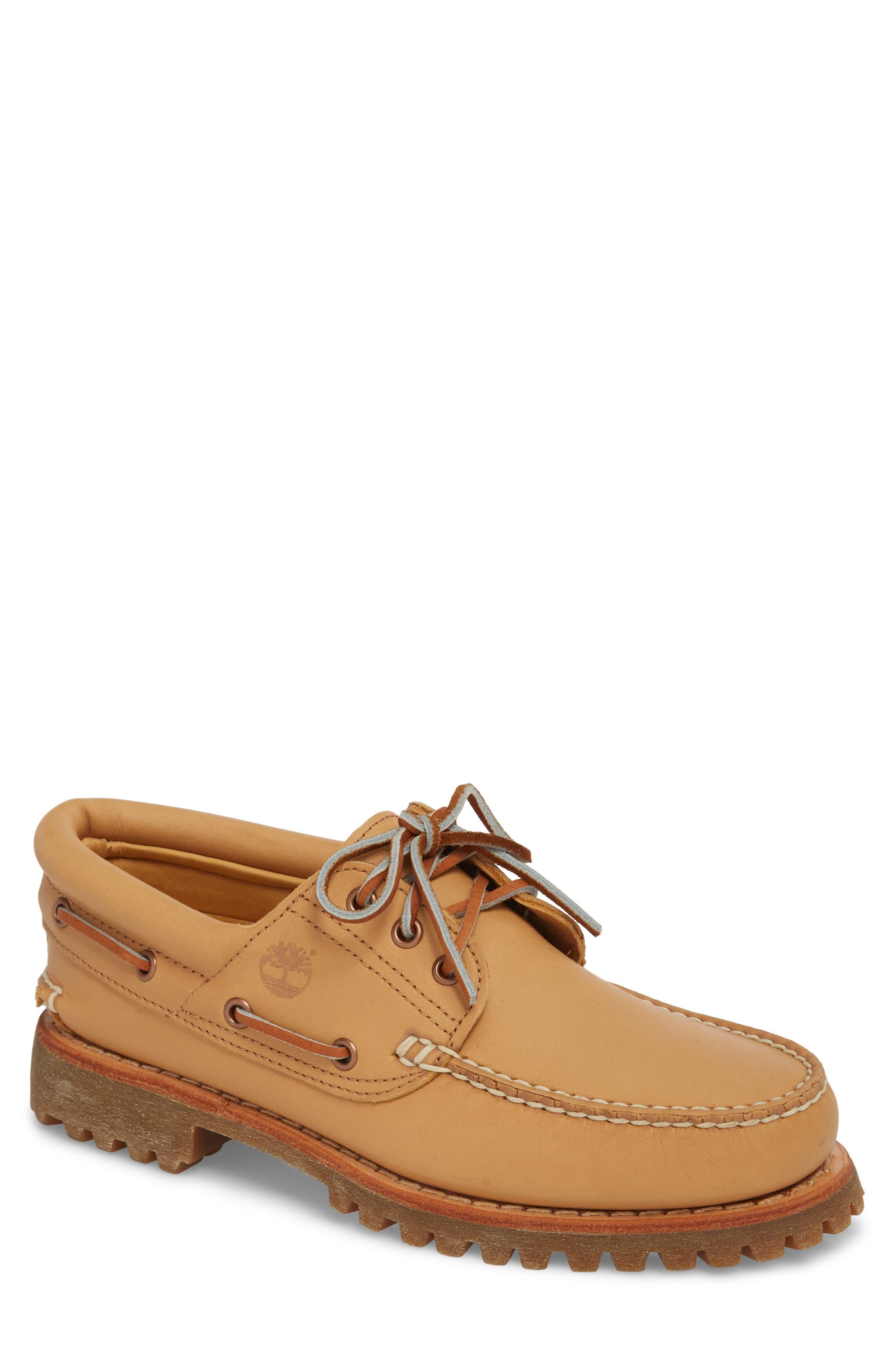 Lug Classic Boat Shoe,                             Main thumbnail 1, color,                             Natural Leahter
