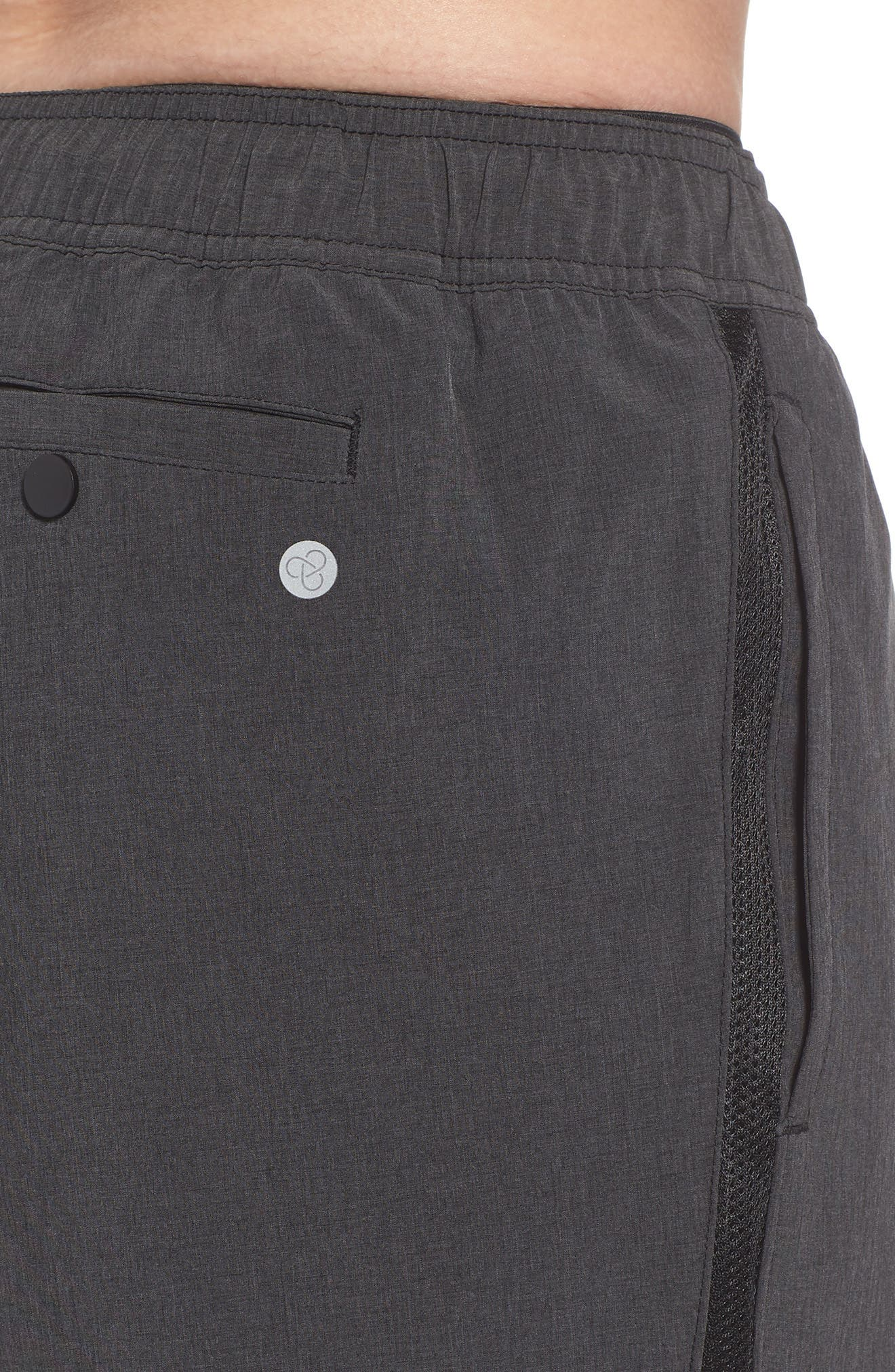 Stretch Swim Trunks,                             Alternate thumbnail 4, color,                             Black Oxide Heather
