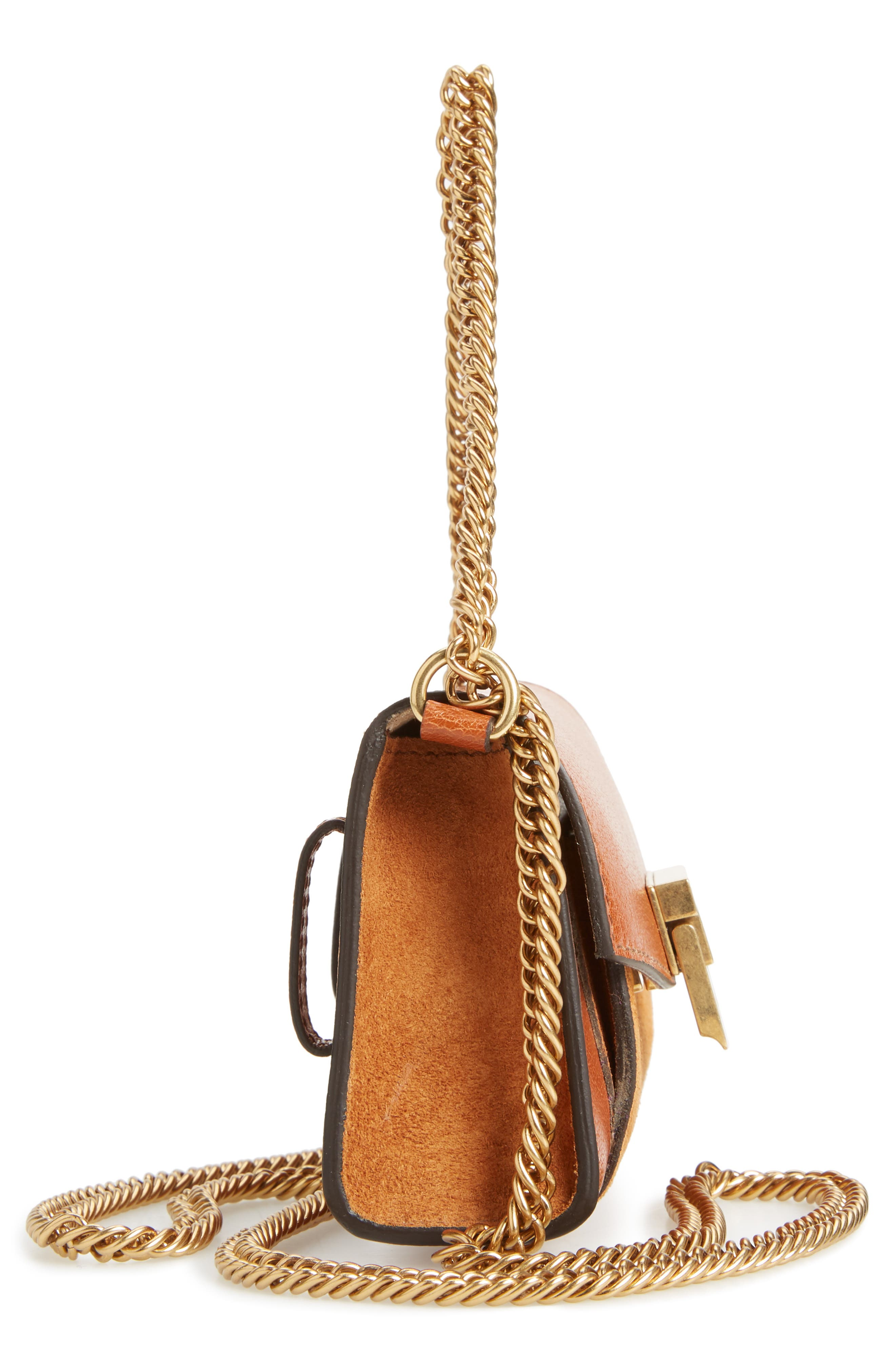 Givency Nano GV3 Leather & Suede Crossbody Bag,                             Alternate thumbnail 5, color,                             Chestnut