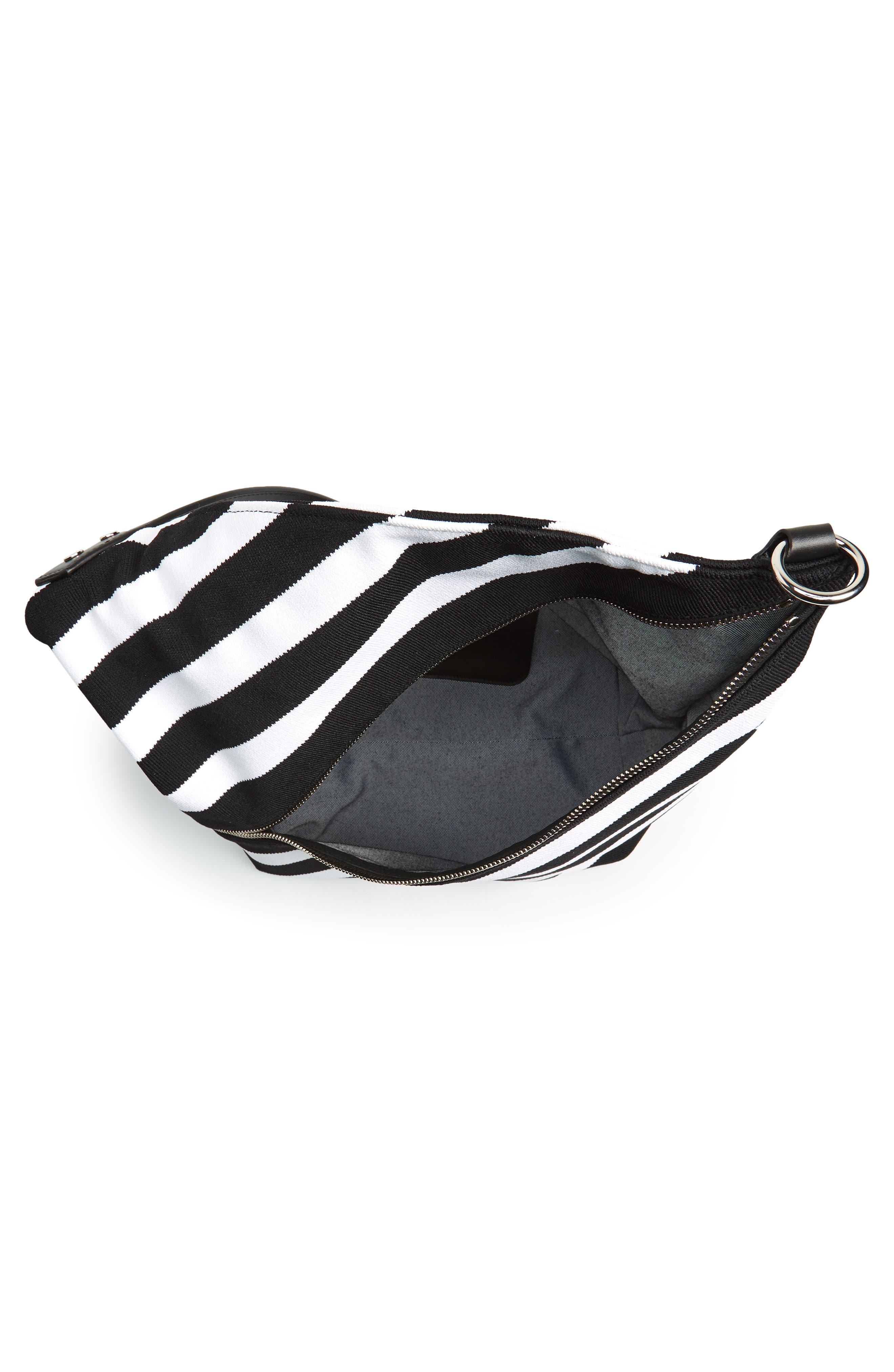 Medium Asymmetric Zip Stripe Textile Hobo,                             Alternate thumbnail 4, color,                             Black/ Ecru